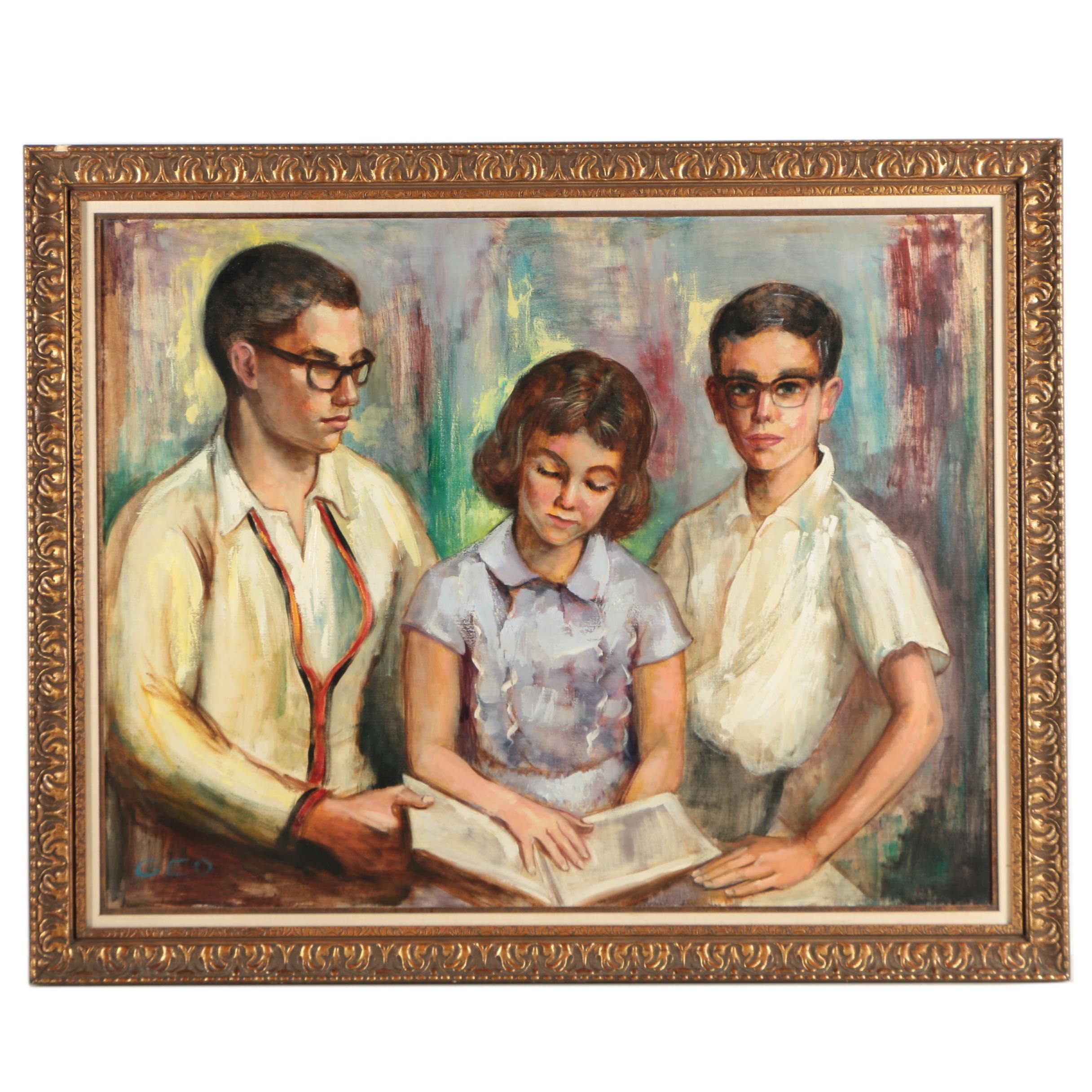 GEO Oil Painting of Children Reading