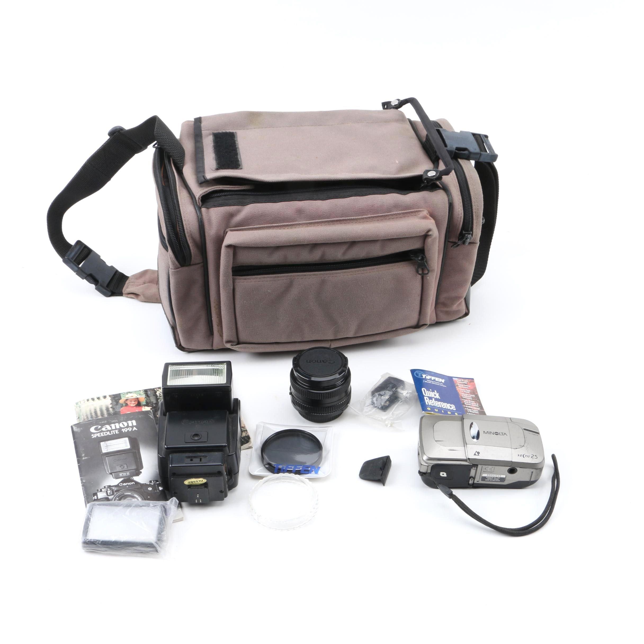 Minolta Vectis 25 Camera, Case and Accessories