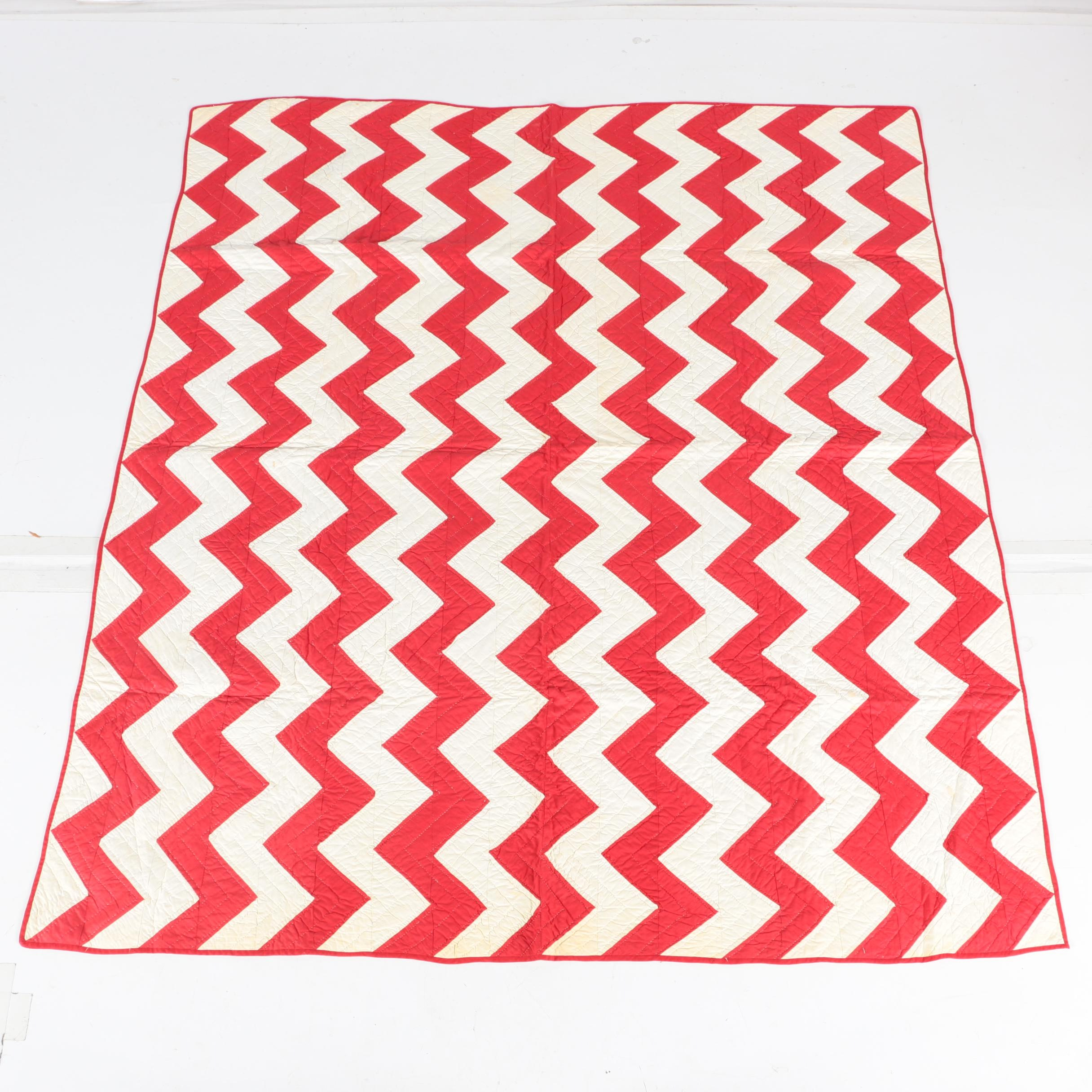 "Vintage Handcrafted Red and White ""Zigzag"" Quilt"