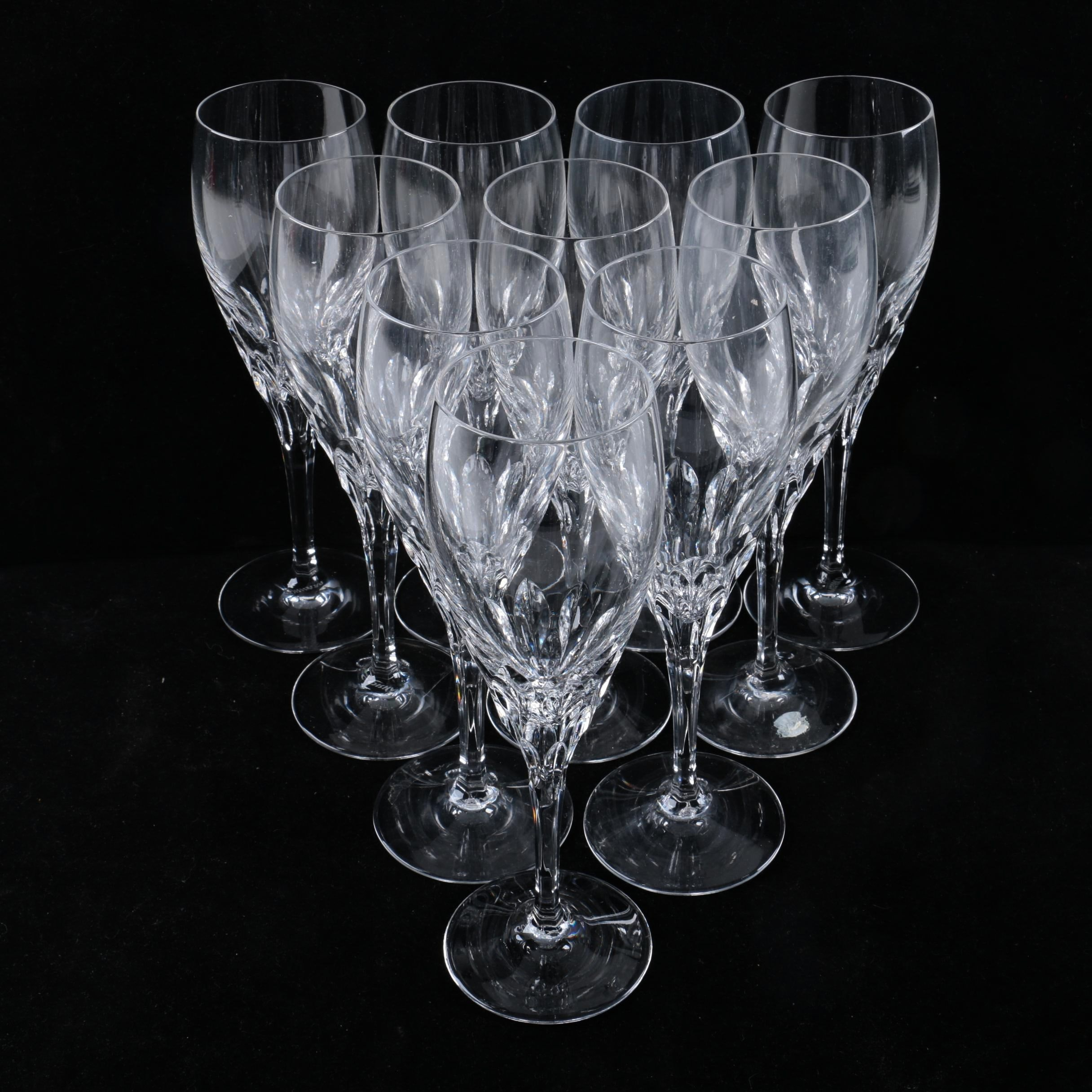 Collection of Ten Gorham Crystal Champagne Flutes