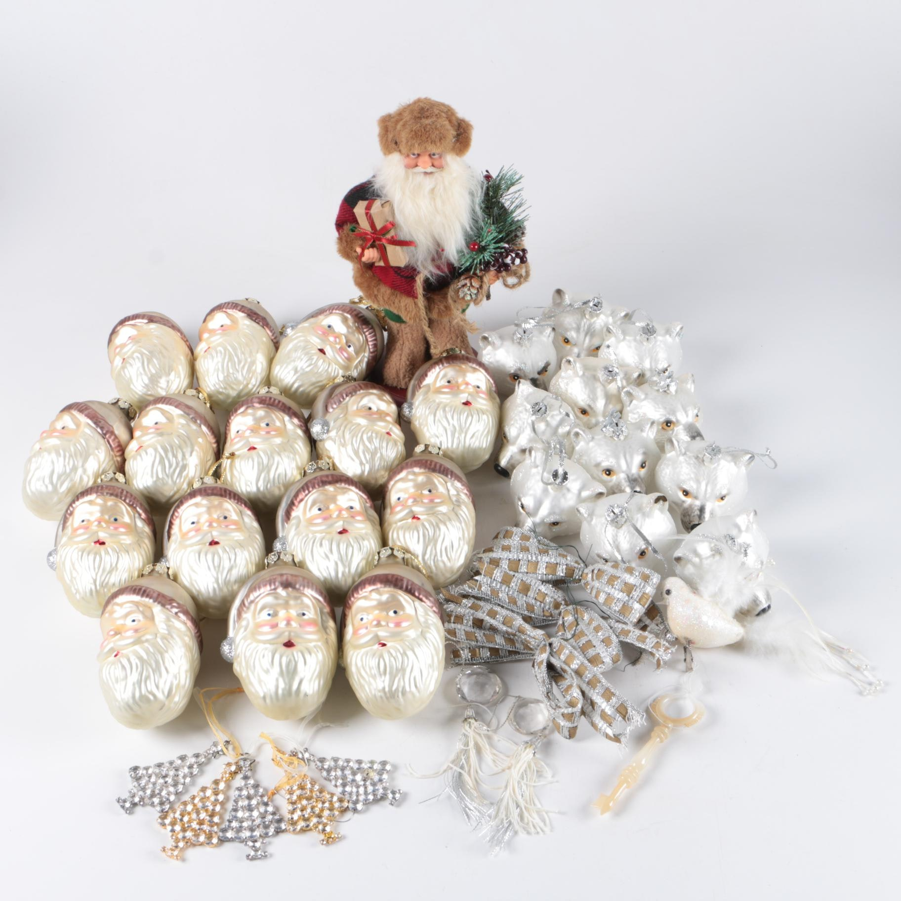 Glass Christmas Ornaments with Plastic Santa Figurine