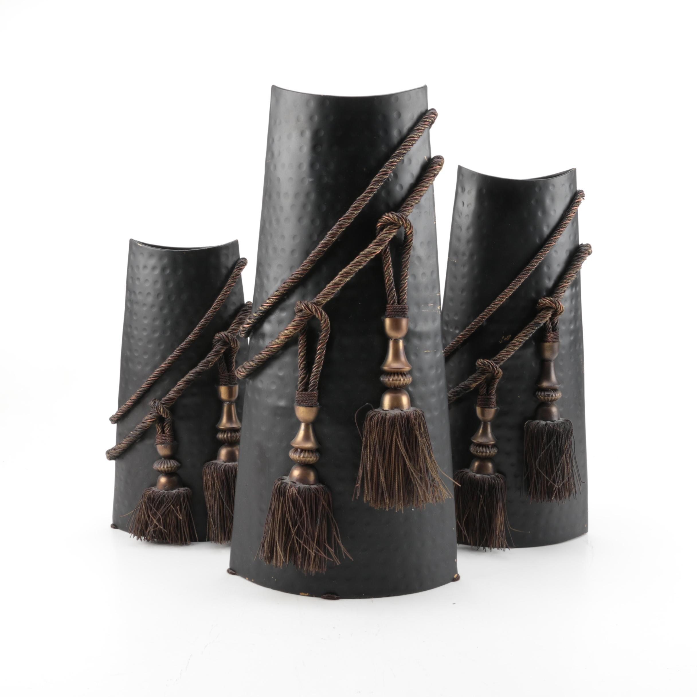 Metal Vases with Tassels