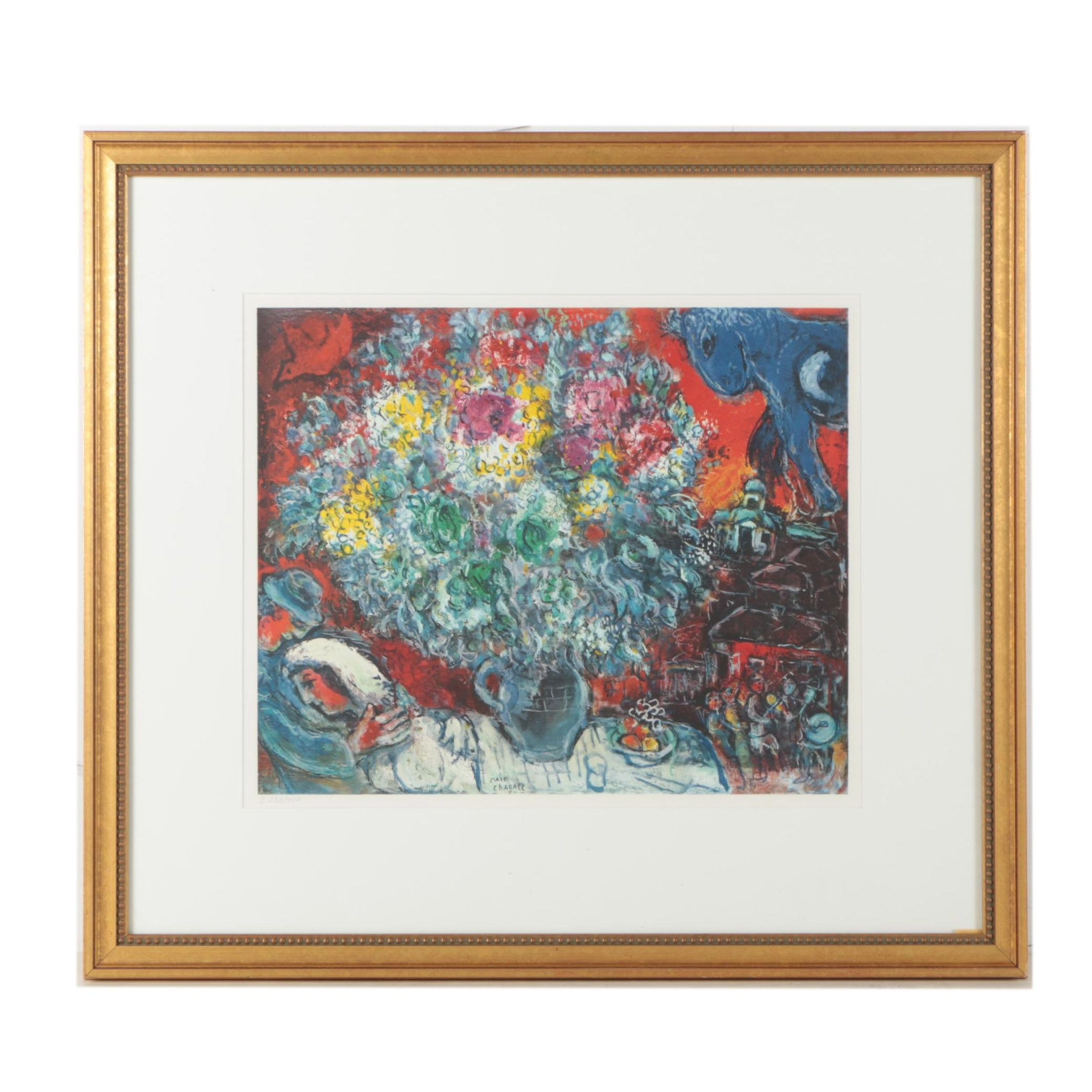 "Limited Edition Collotype Print After Marc Chagall ""Bouquet de Fleurs et Amants"""