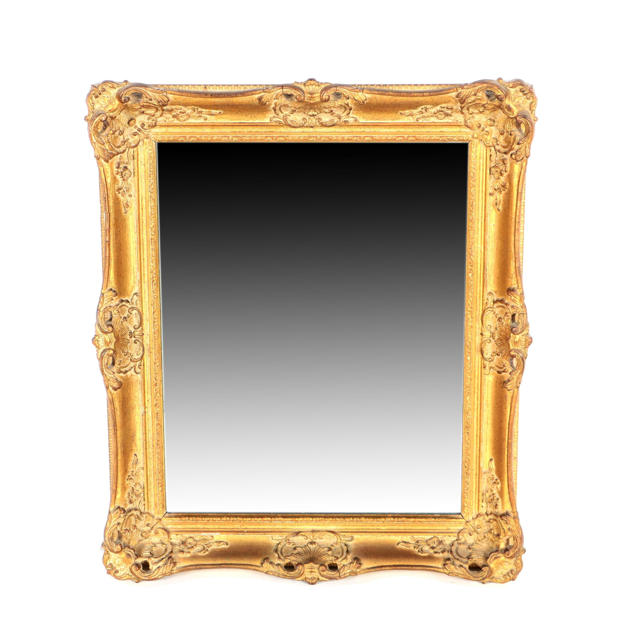 Gold Painted Baroque Style Wood Framed Wall Mirror