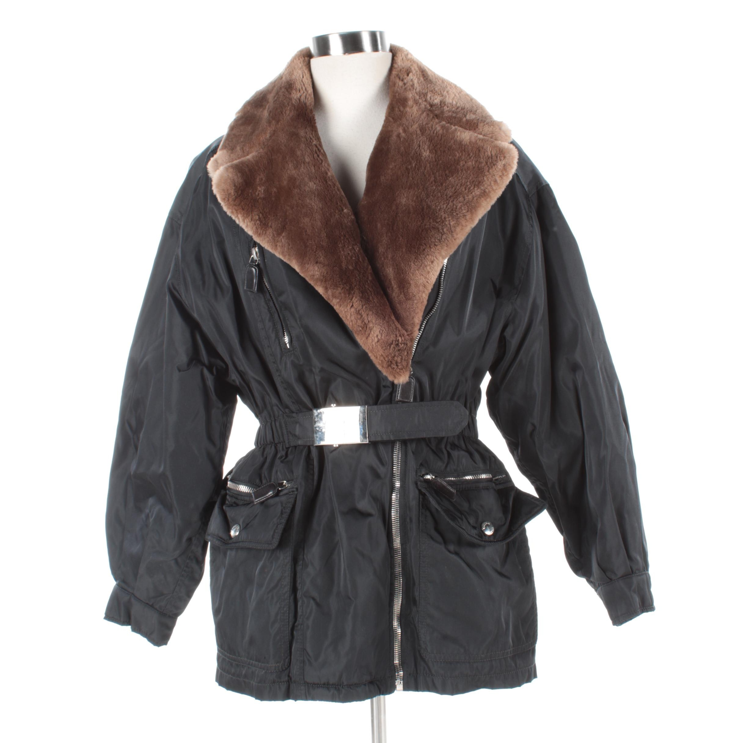 Women's Prada Milano Black Nylon Coat with Sheared Beaver Fur Collar