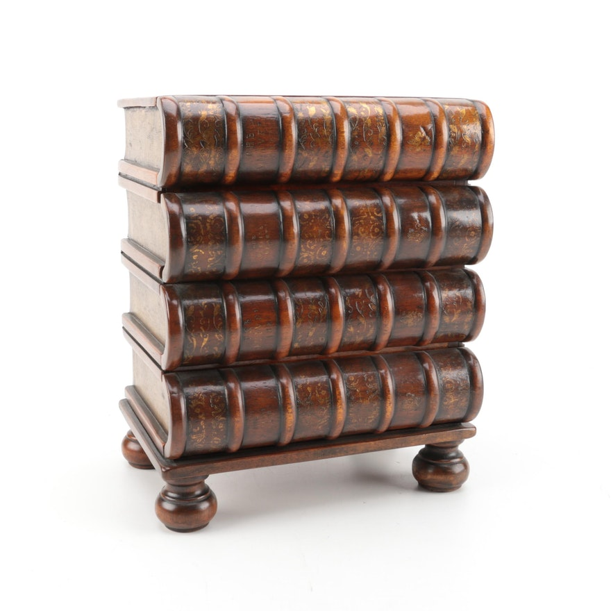 Decorative Stacked Book Four Drawer Chest