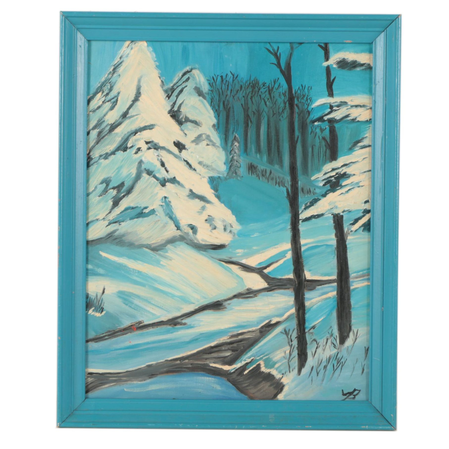 Oil Painting on Canvas Board of Winter Landscape
