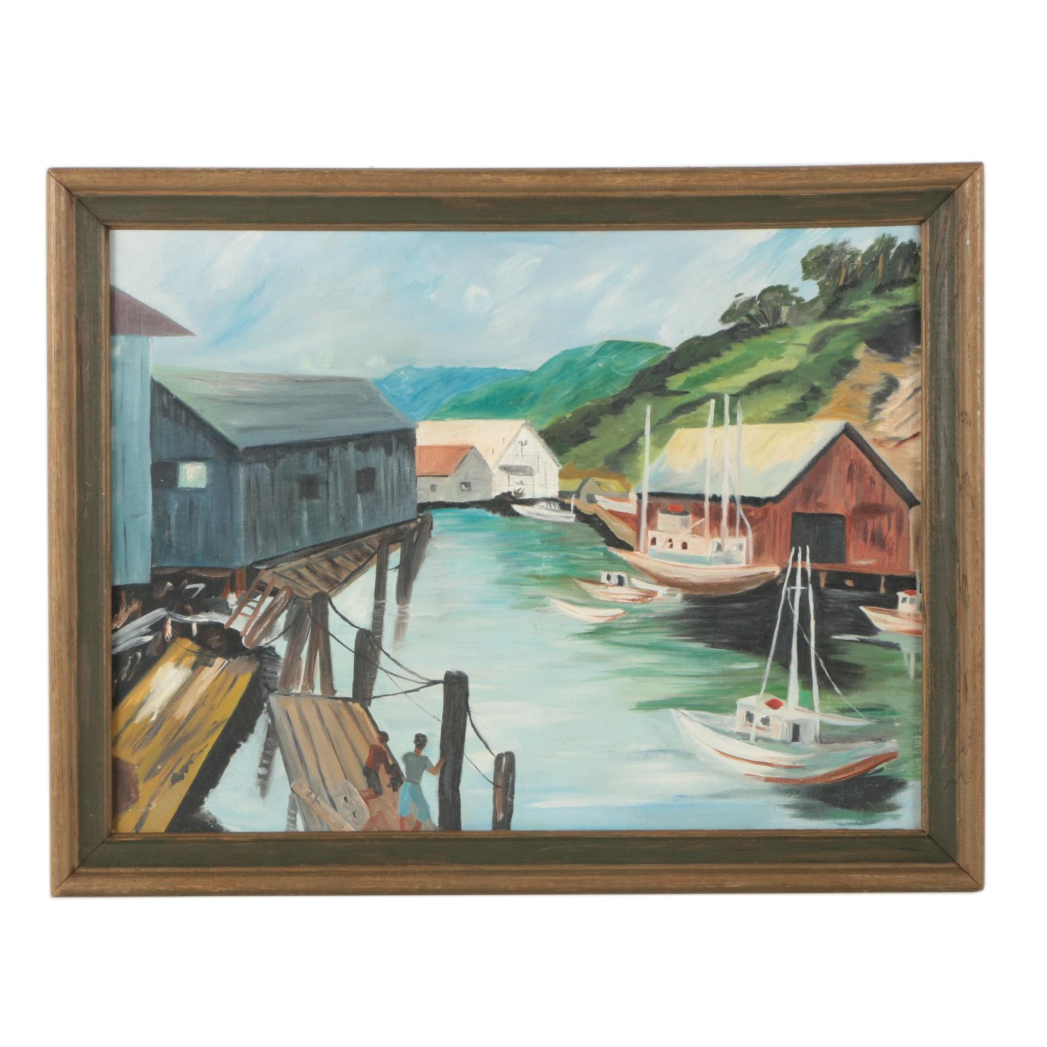 Oil Painting of Boats and Dock Buildings