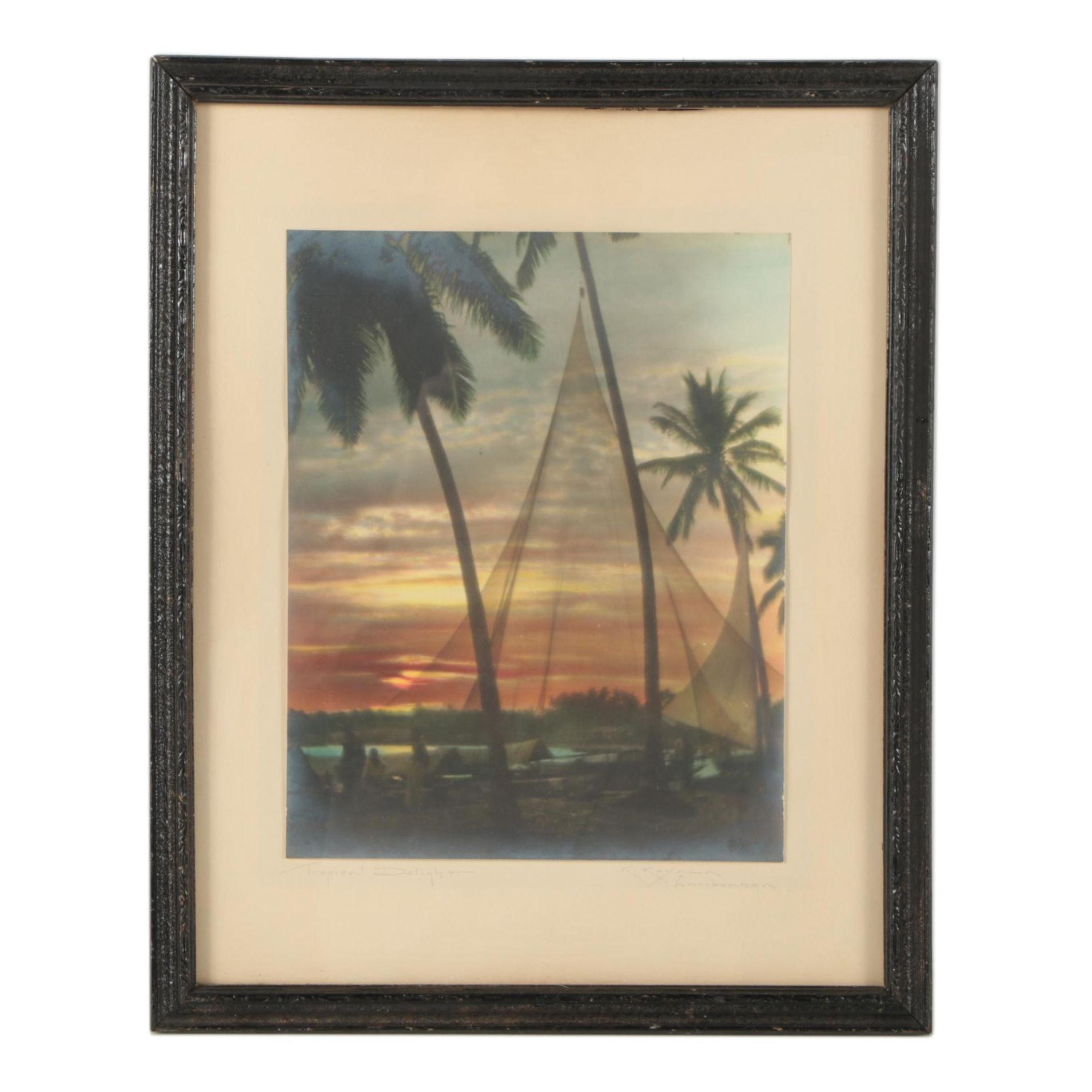 """Hand Colored Silver Gelatin Print """"Tropical Delight"""""""