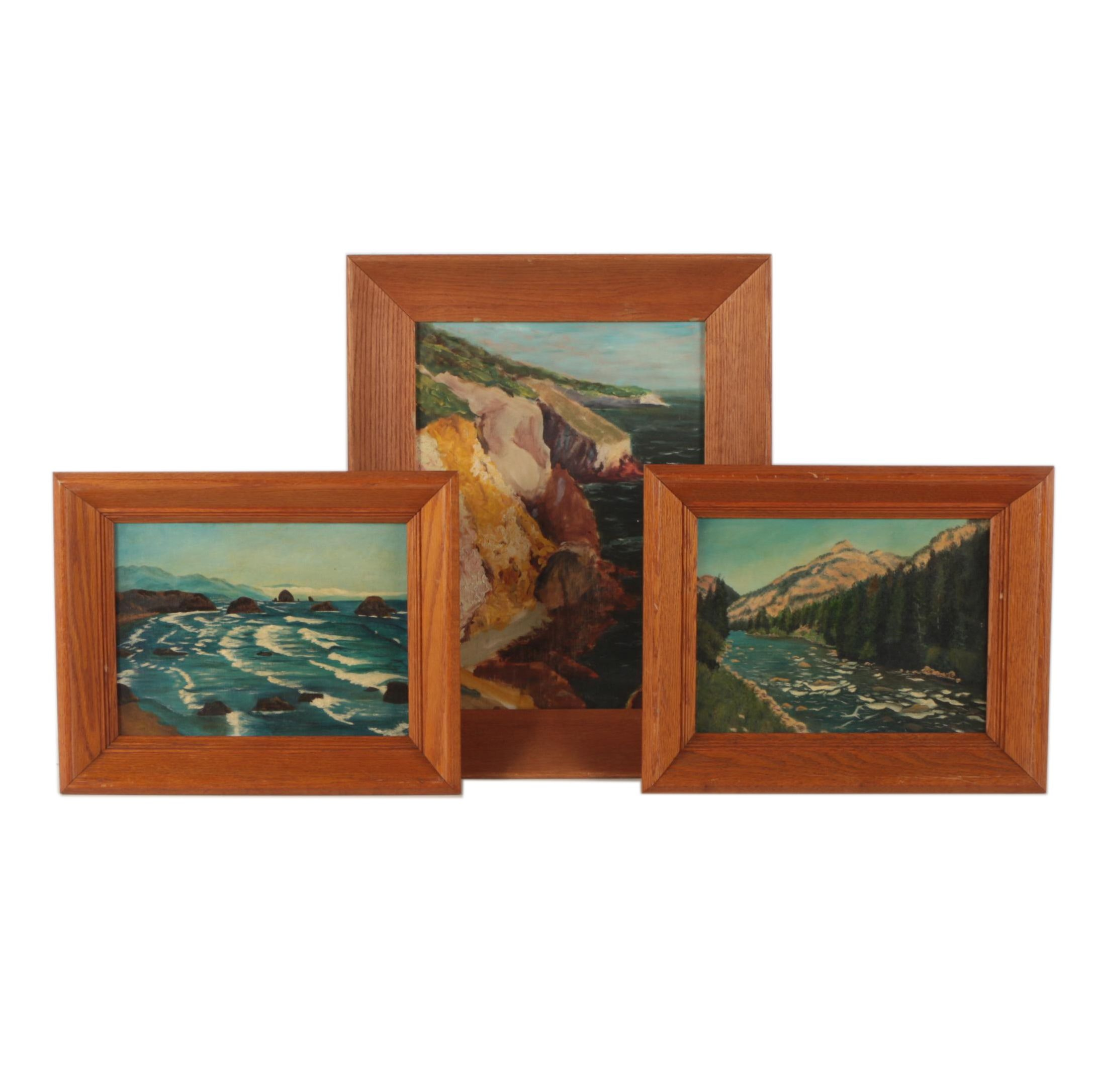 Two 1957 Stanhope Oil Landscape Paintings