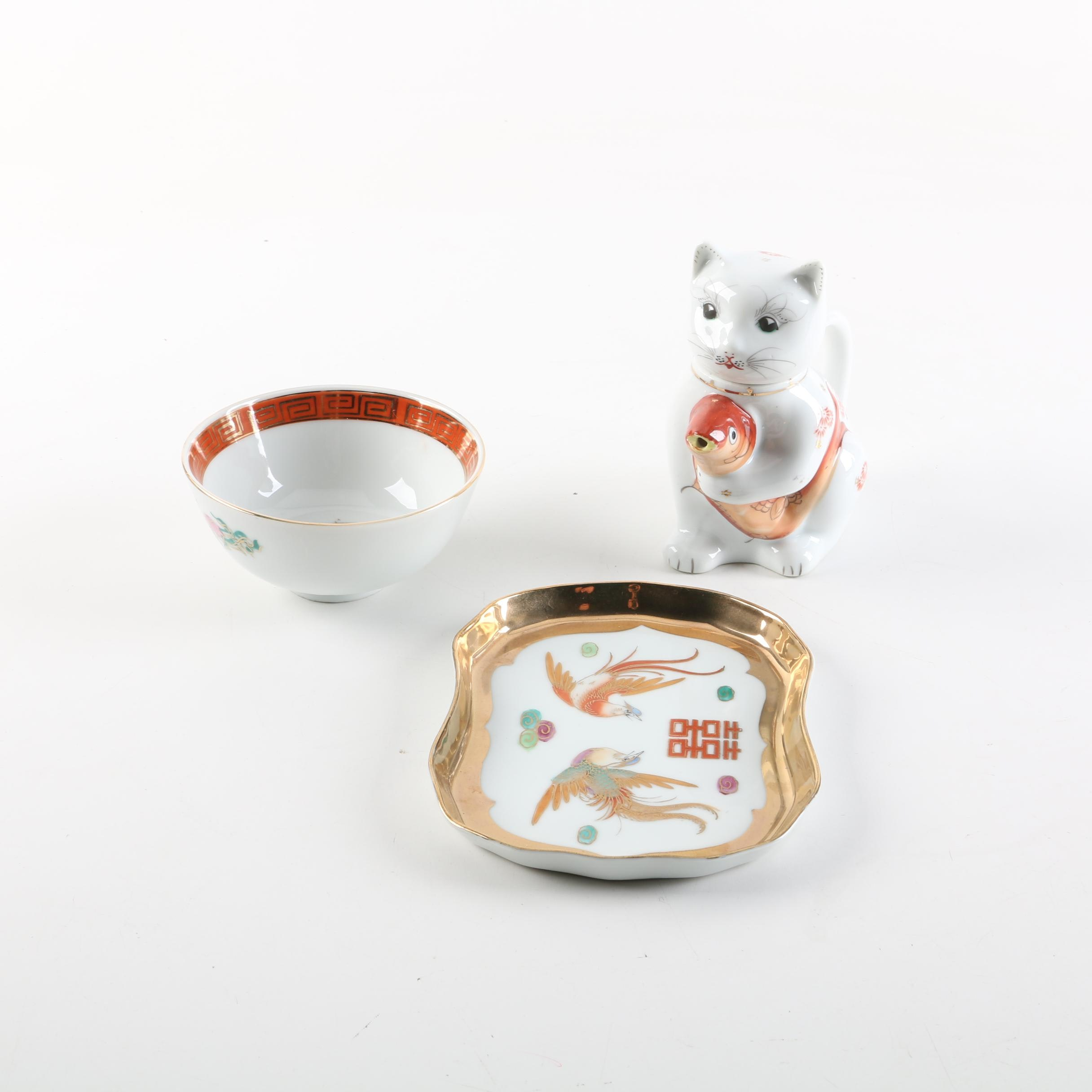 Chinese Porcelain Teapot and Tableware