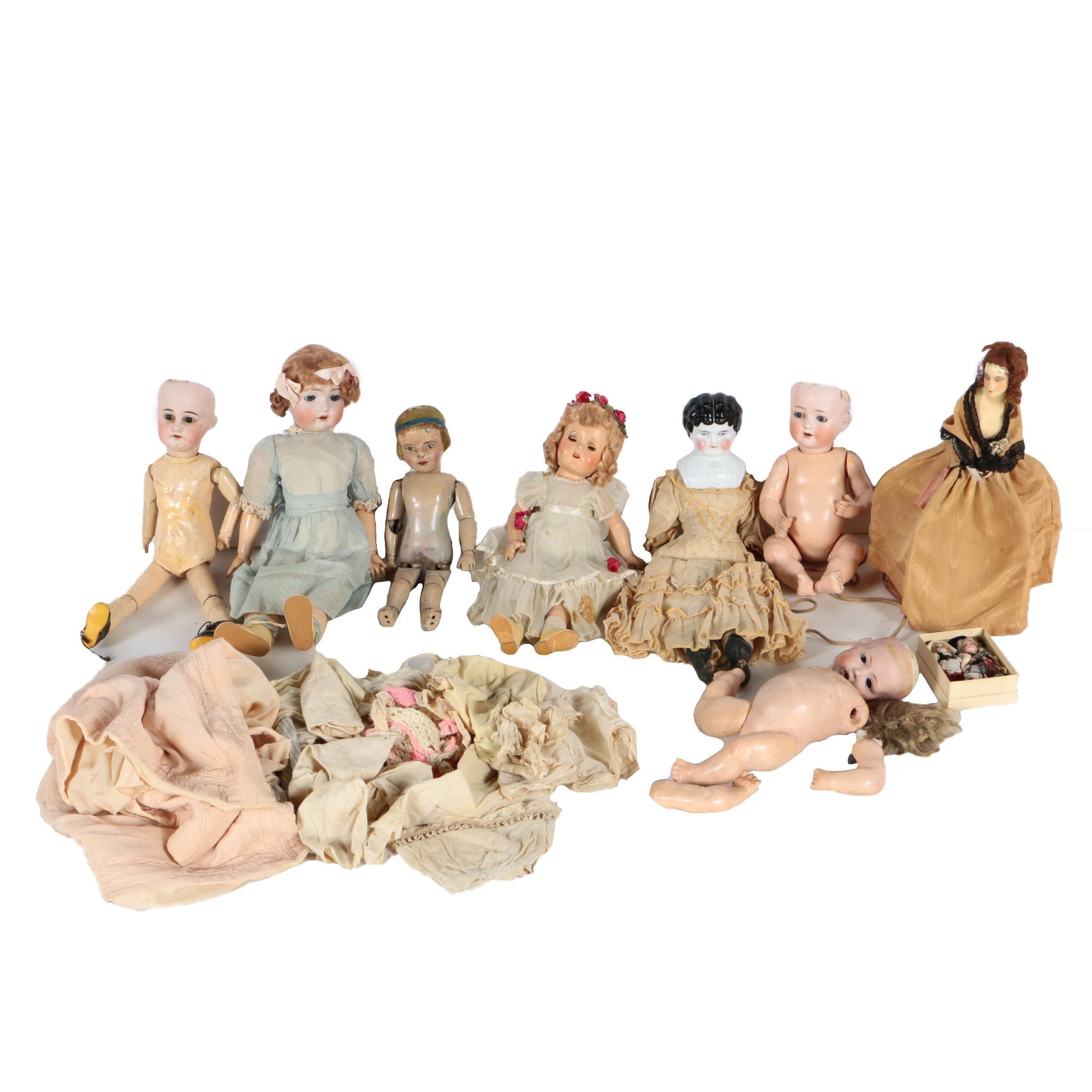 Antique Bisque and Composition Dolls Featuring J.D.K. Kestner and Heubach