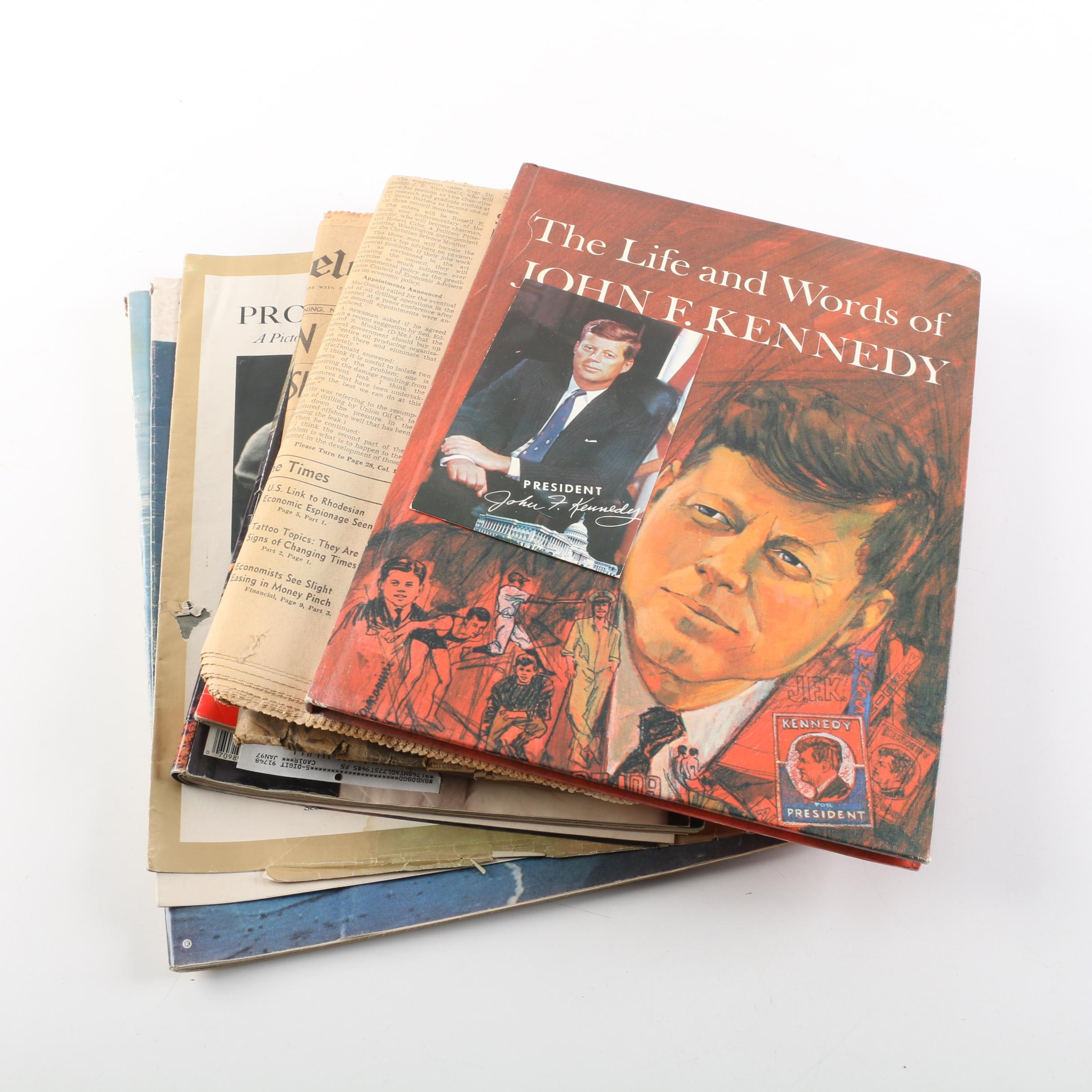 Kennedy Family Themed Books, Magazines, Newspaper Clippings and More
