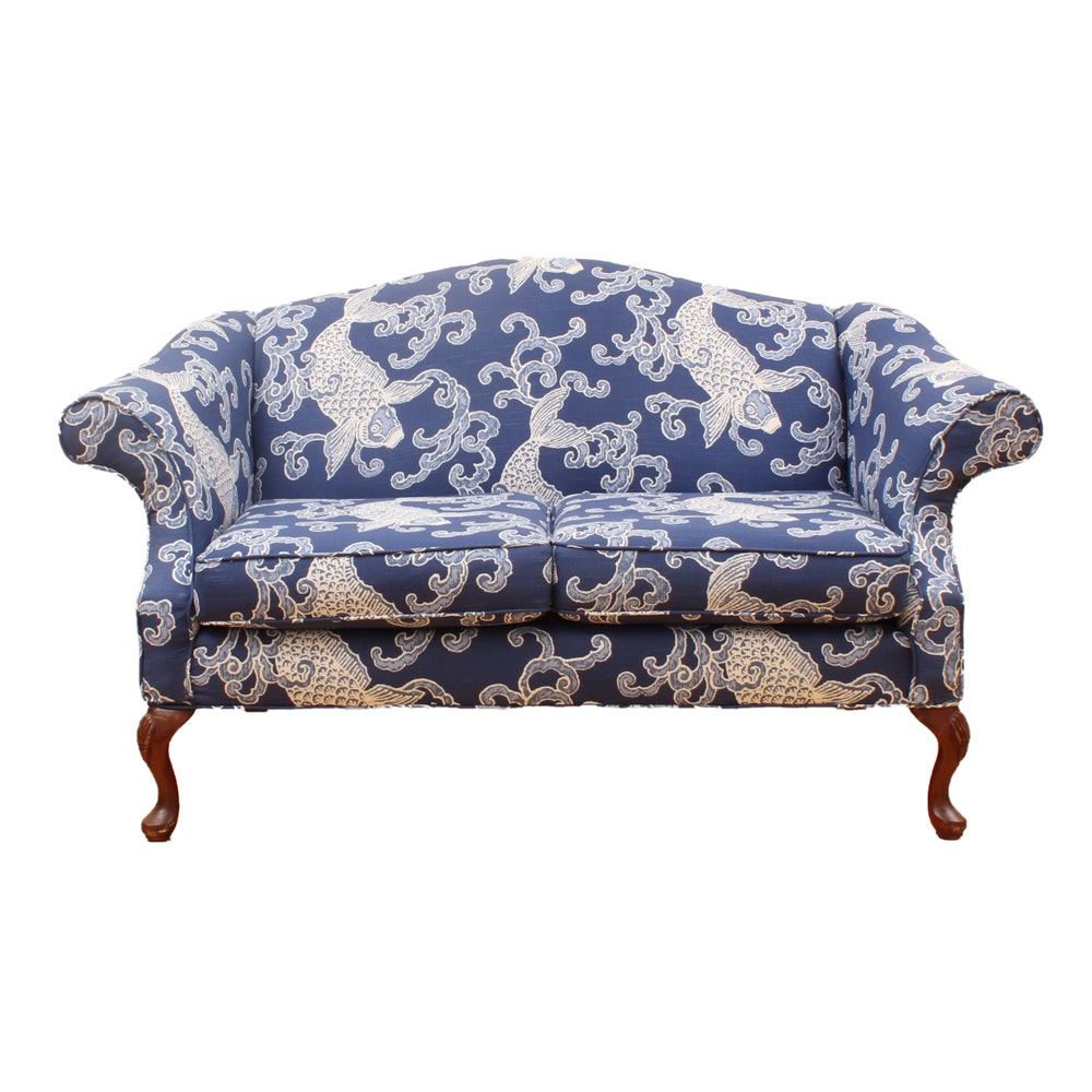 Queen Anne Style Upholstered Settee