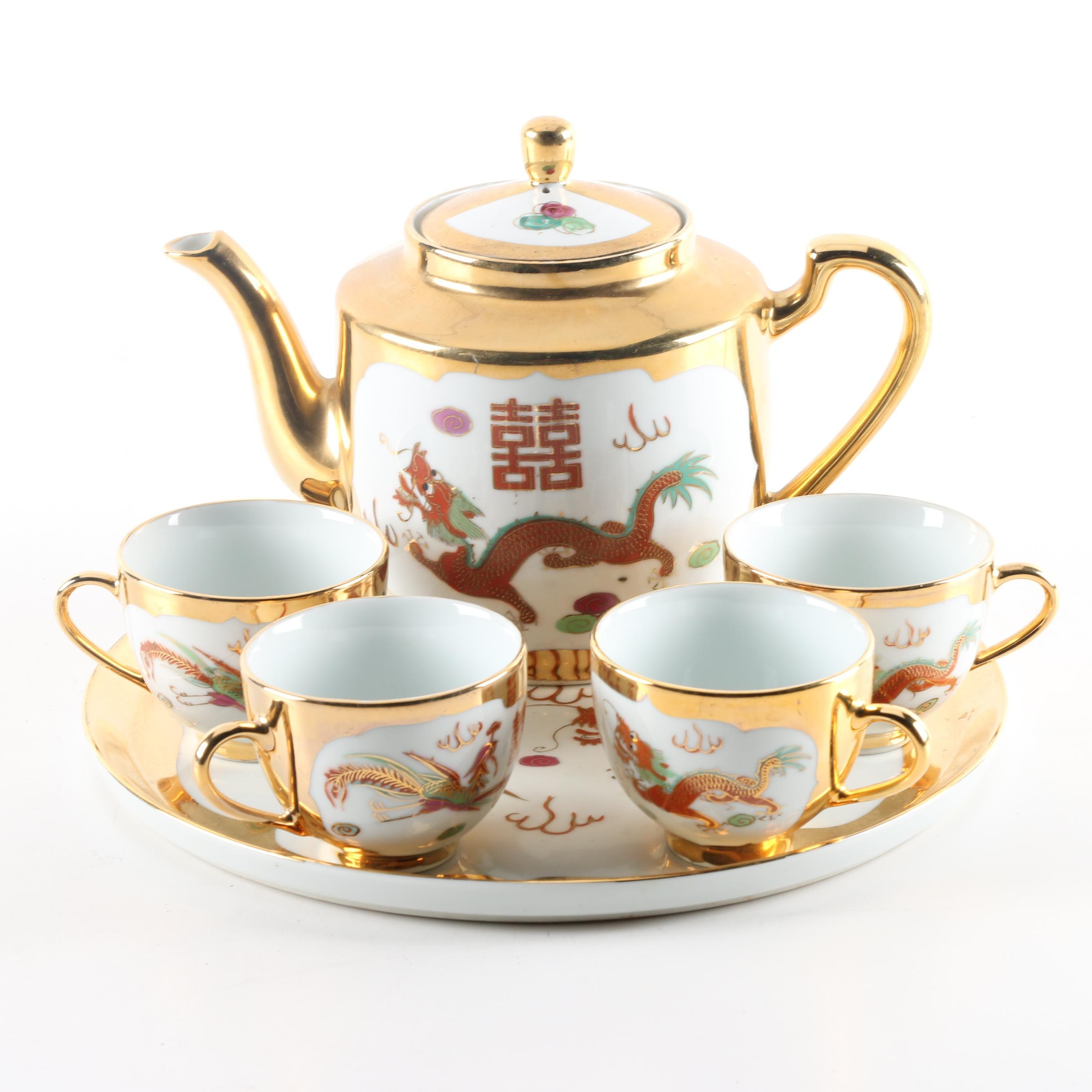 Chinese Porcelain Tea Service with Dragons