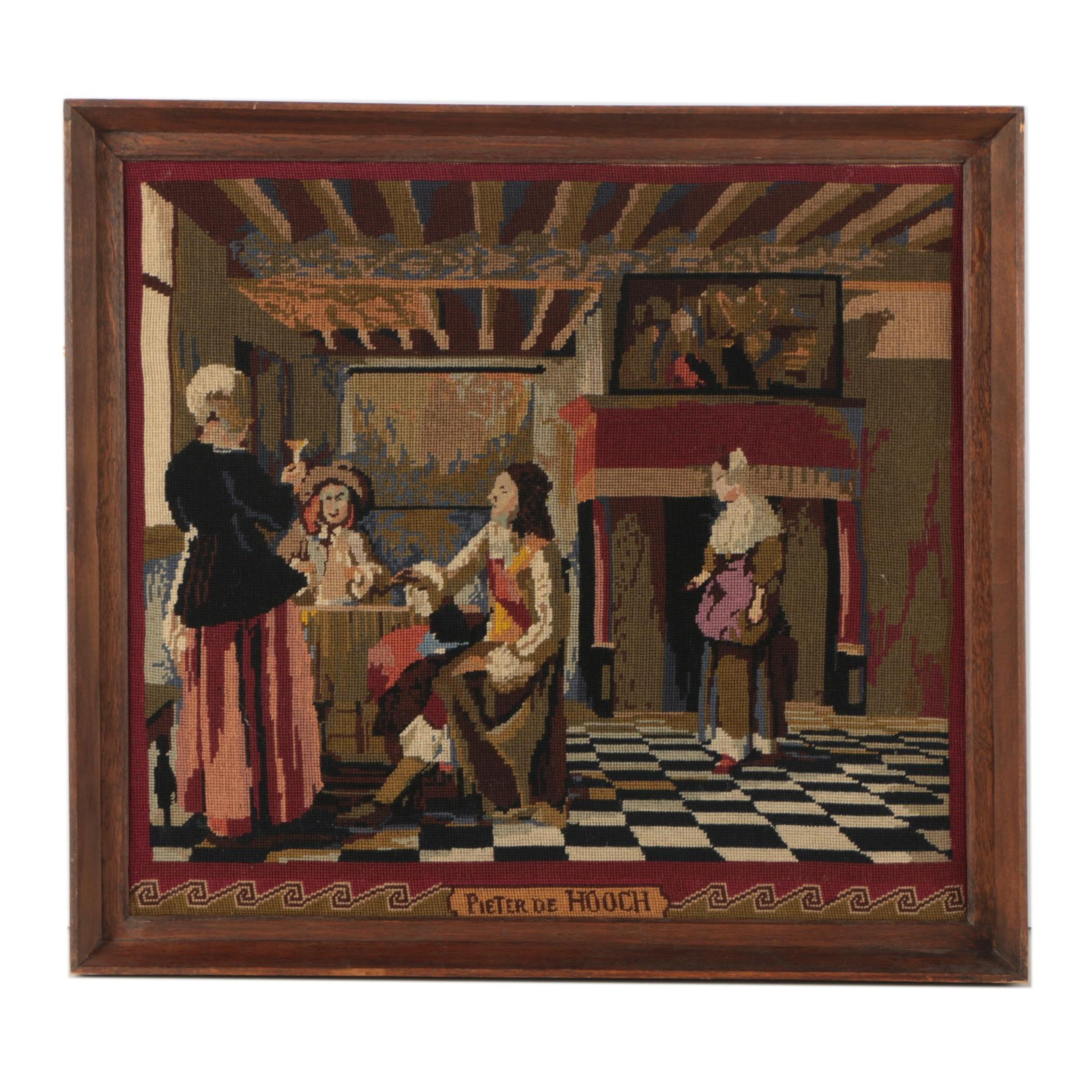 """Needlepoint After Pieter de Hooch """"A Woman Drinking with Two Men"""""""