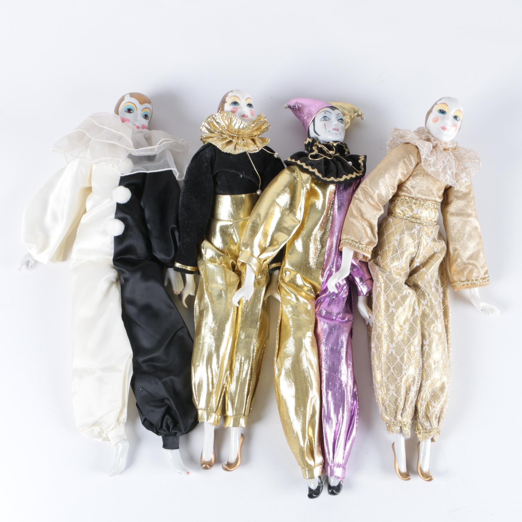 Vintage Russ Porcelain Pierrot Dolls