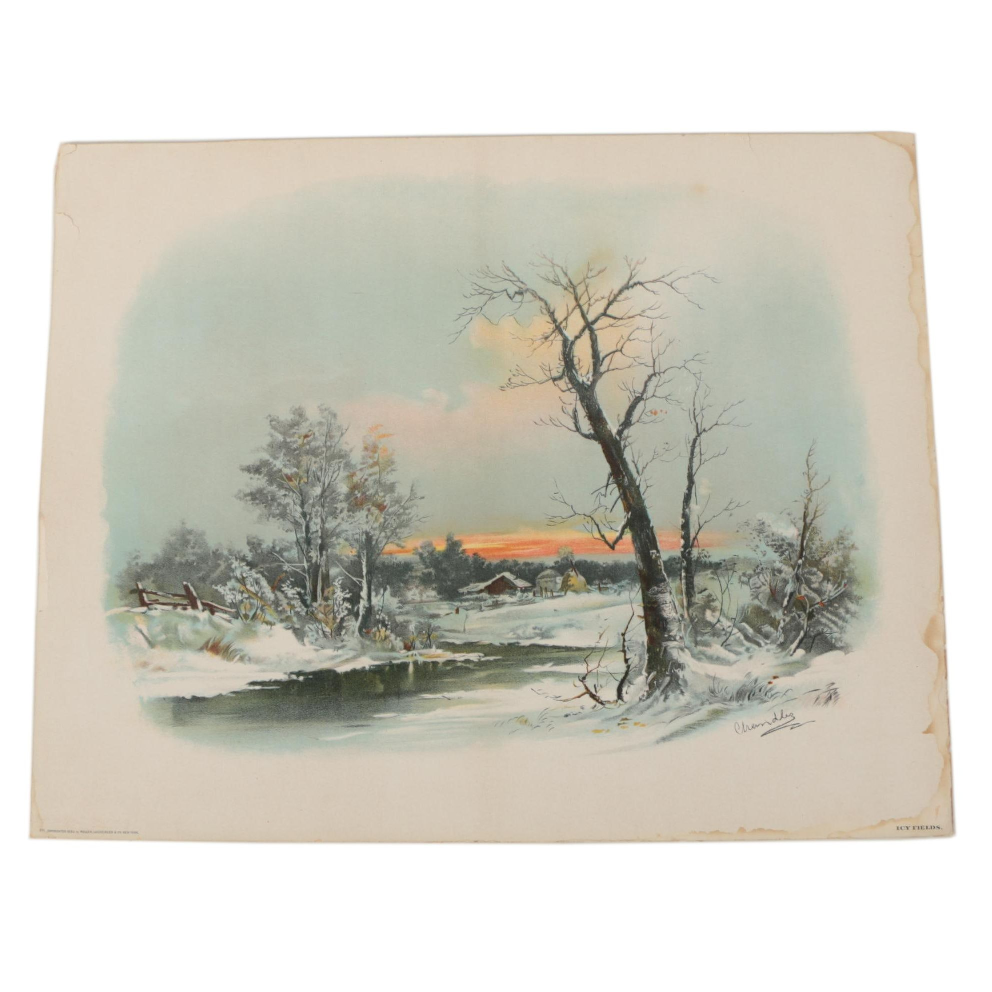 """Chromolithograph After Chandler """"Icy Fields"""""""