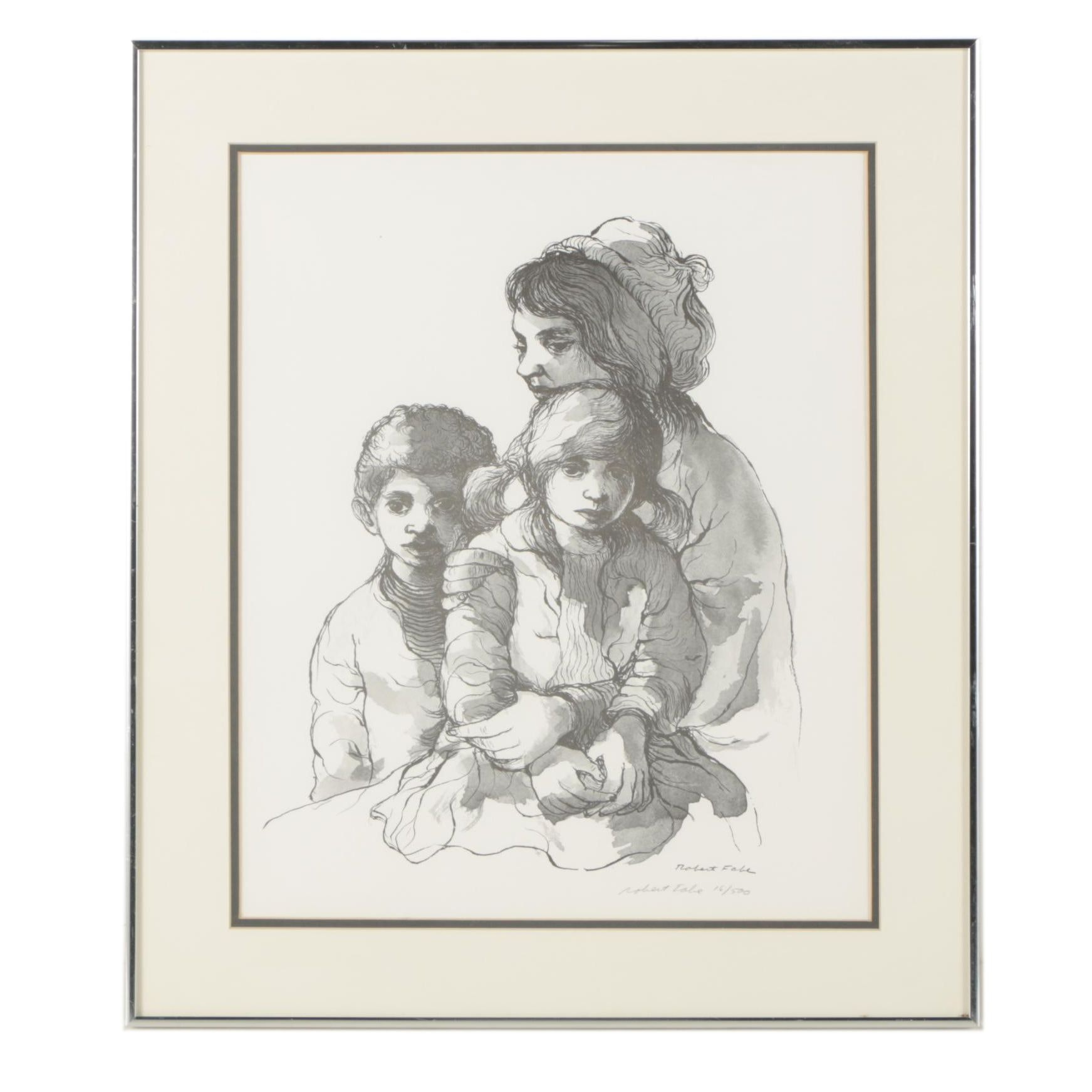 Robert Fabe Limited Edition Halftone Print of Family