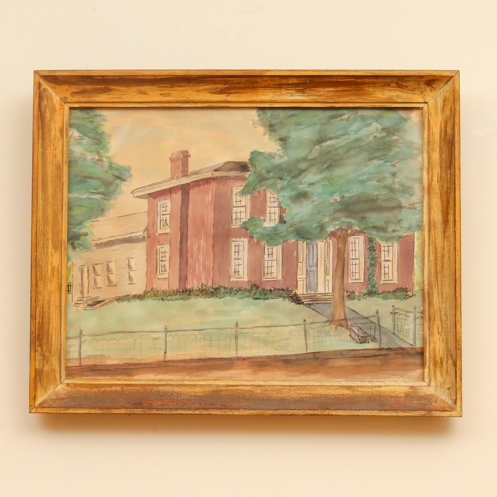 Vintage Watercolor Painting of Brick Mansion