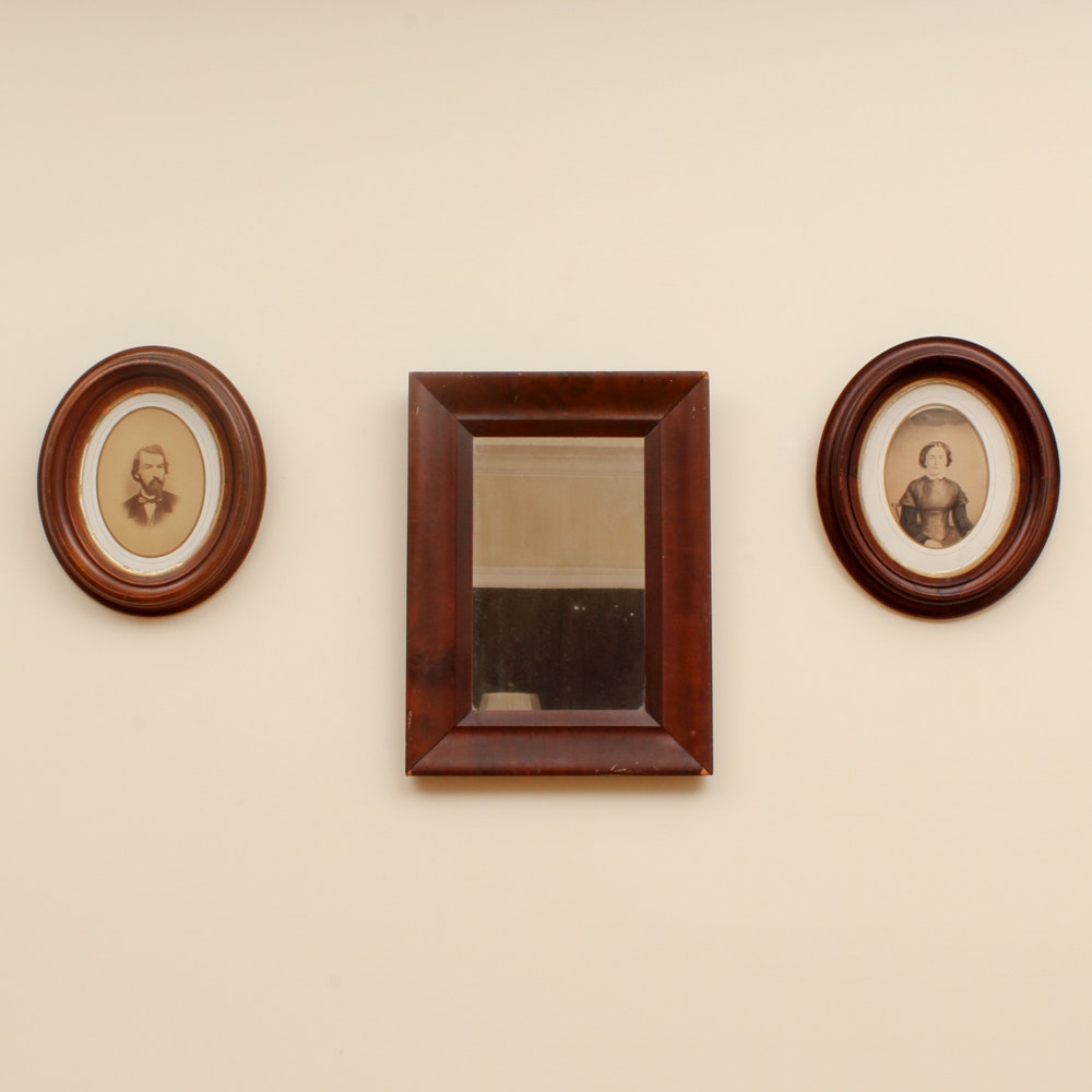 Antique Chromolithograph Portraits and Wood Framed Mirror