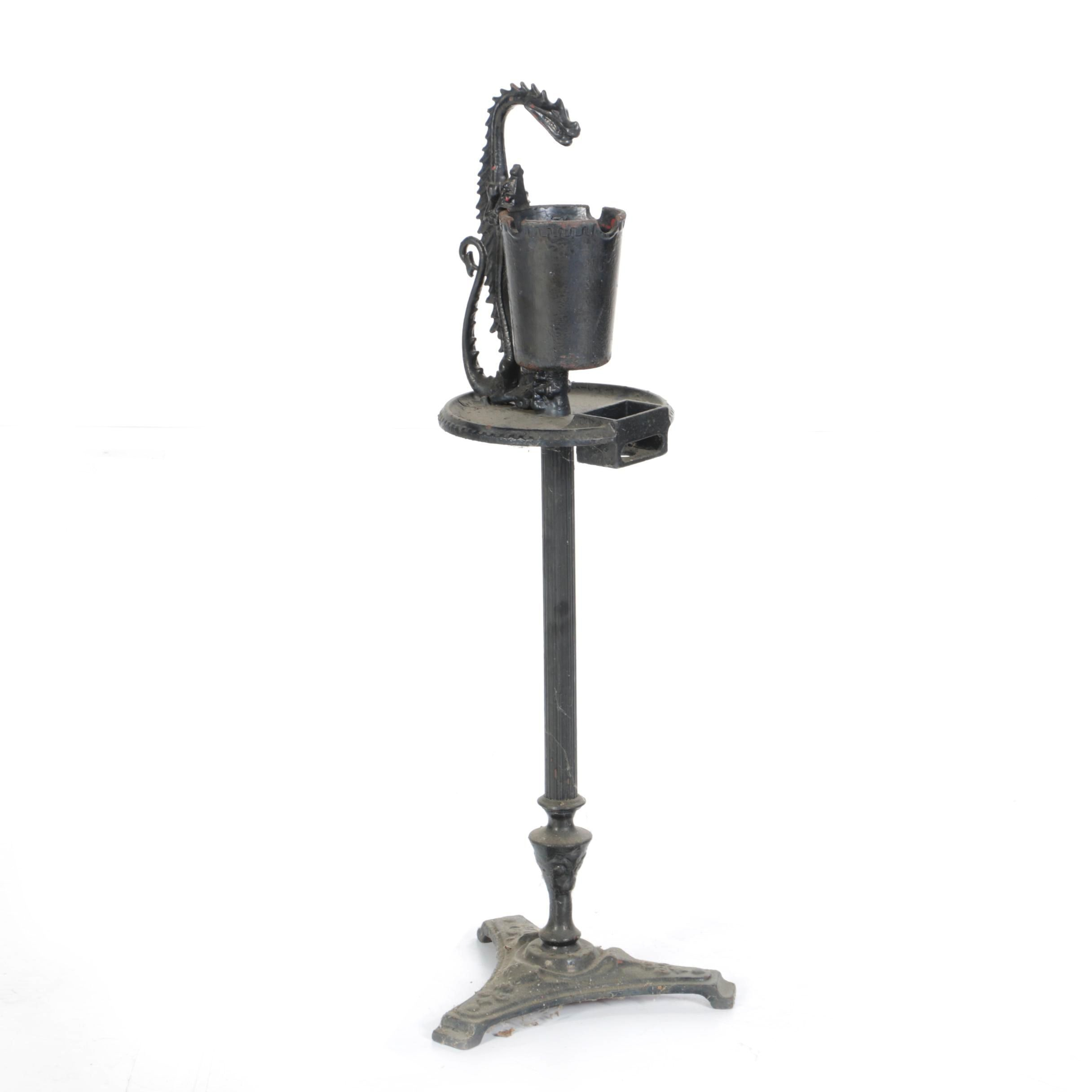 1920's Vintage Cast Iron Dragon Smoke Stand