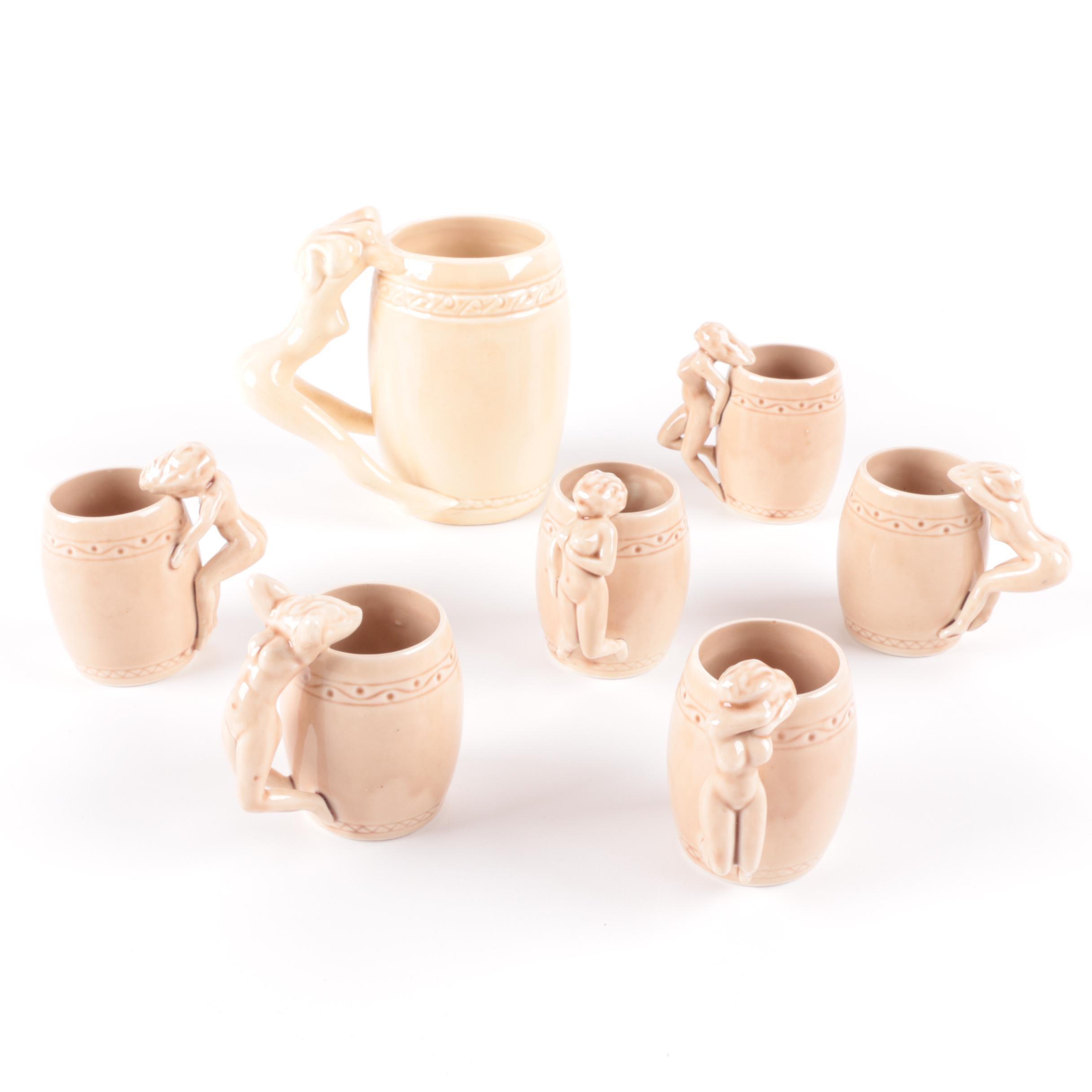 """Figural Ceramic Mugs Including Dorothy Kindell """"Striptease"""""""
