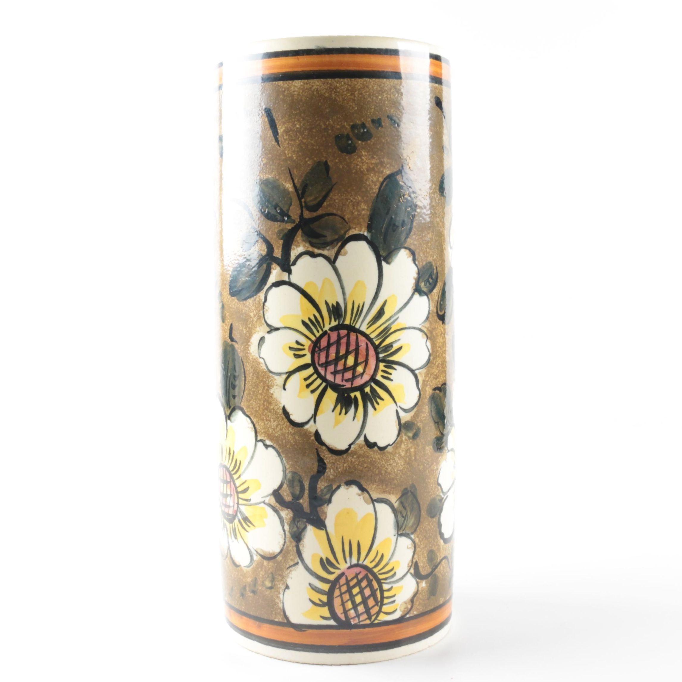 Hand-Painted Spanish Ceramic Vase