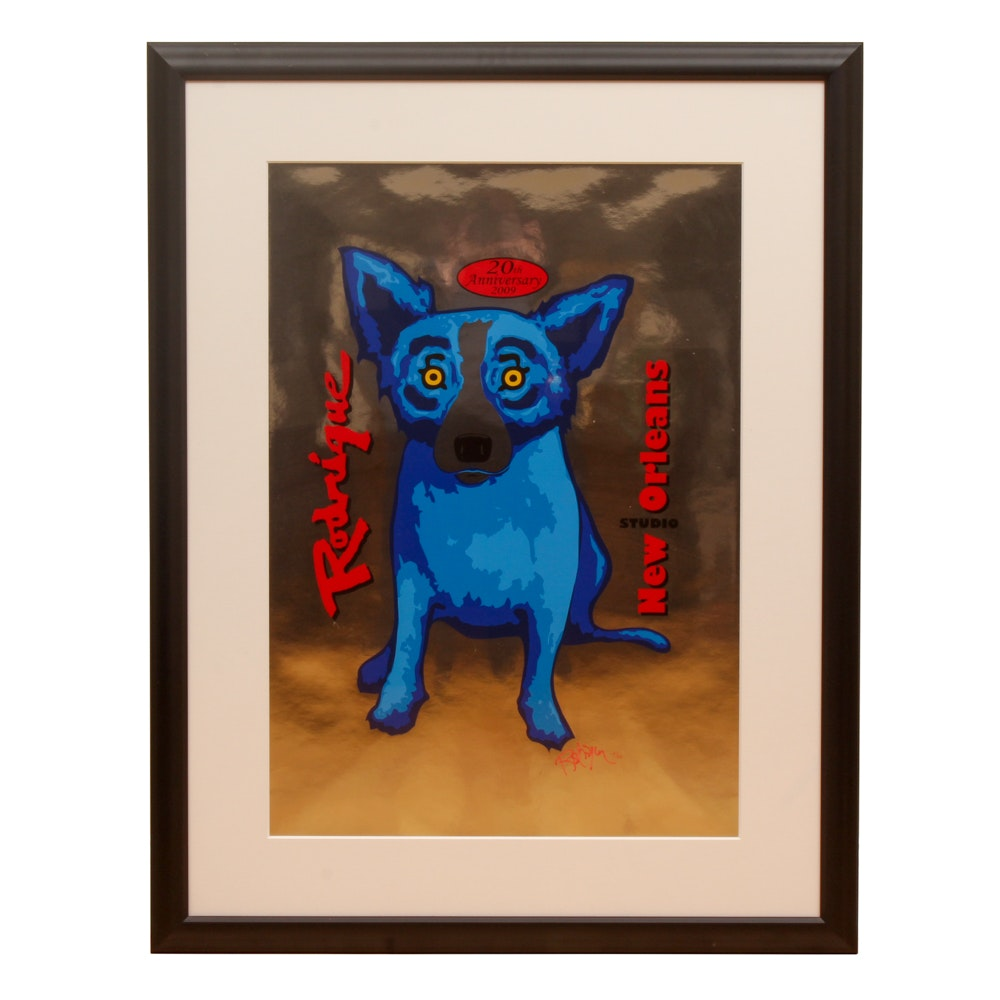 "George Rodrigue Limited Edition Serigraph ""New Orleans 20th Anniversary"""