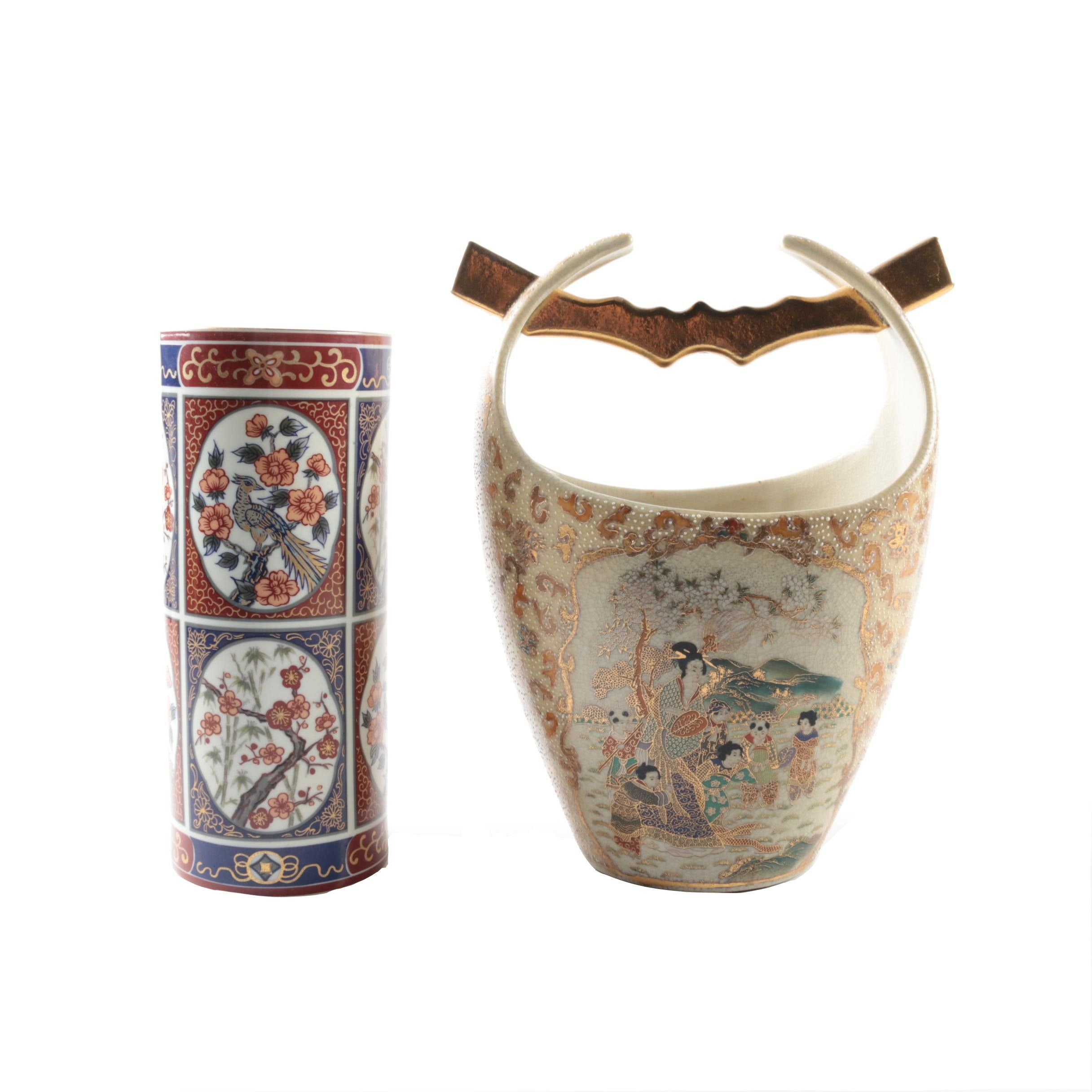 Japanese Imari Vase and Chinese Satsuma Style Ceramic Bucket