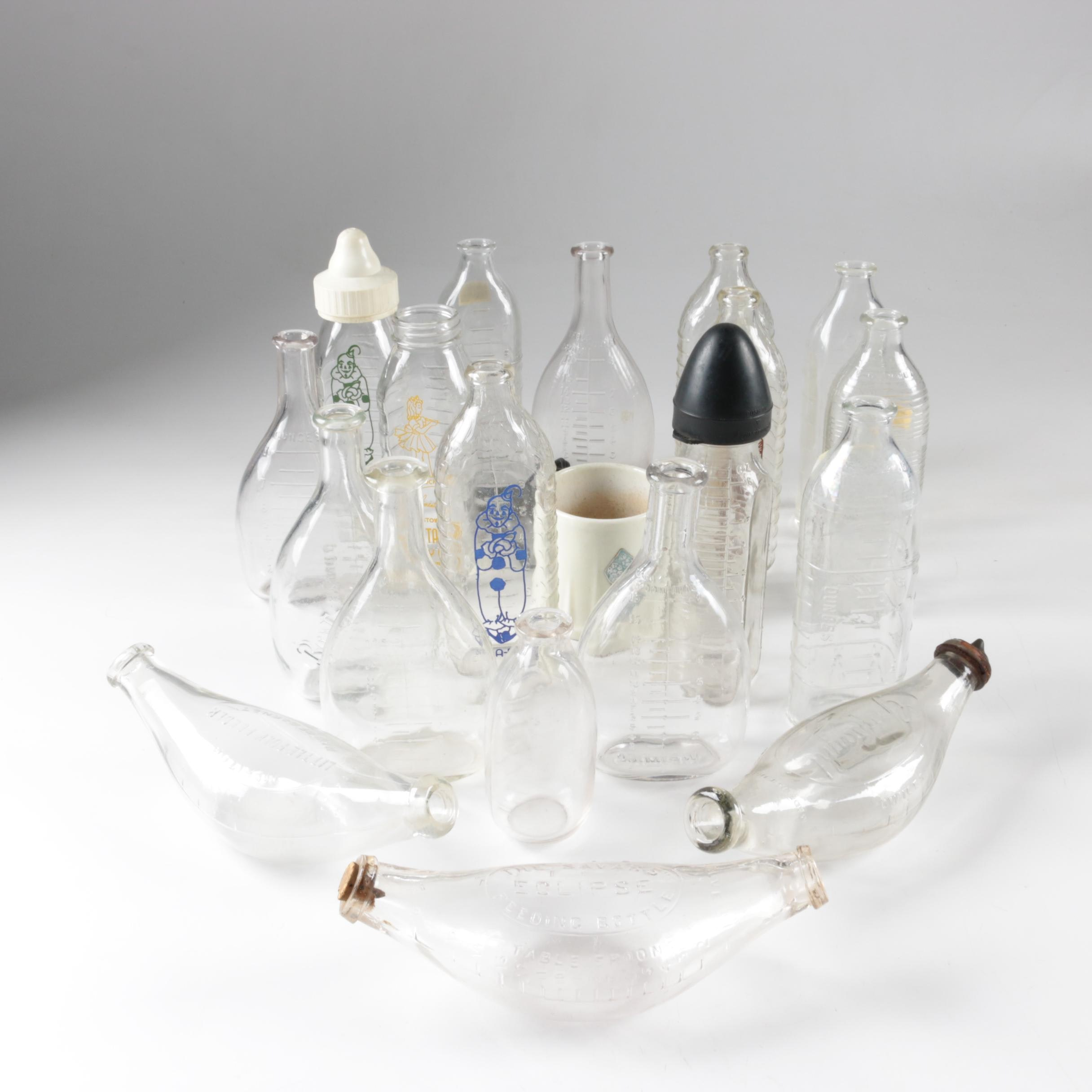 Vintage Glass Baby Bottles, Baby Bottle Warmer and Other Bottles