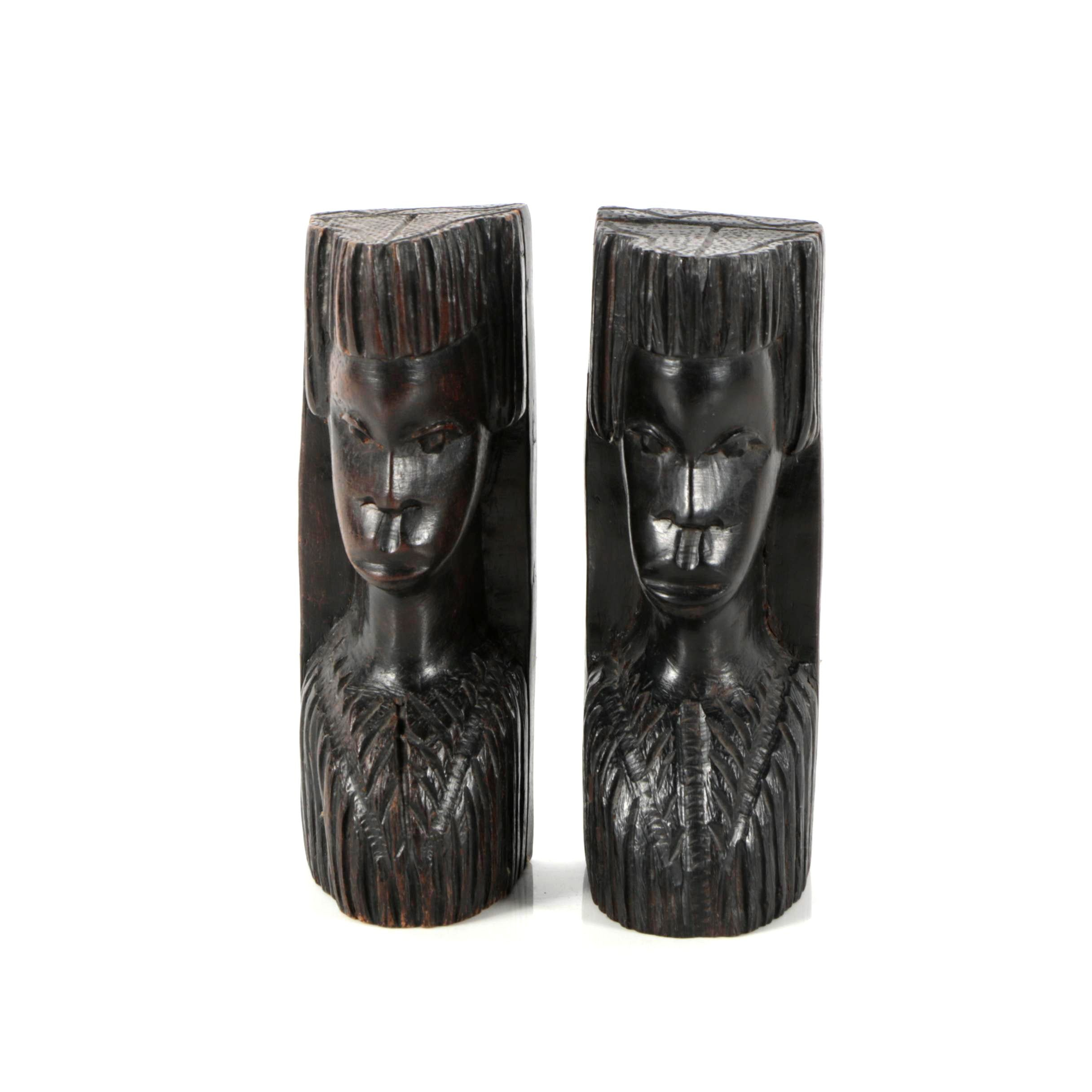 East African Wooden Bookends