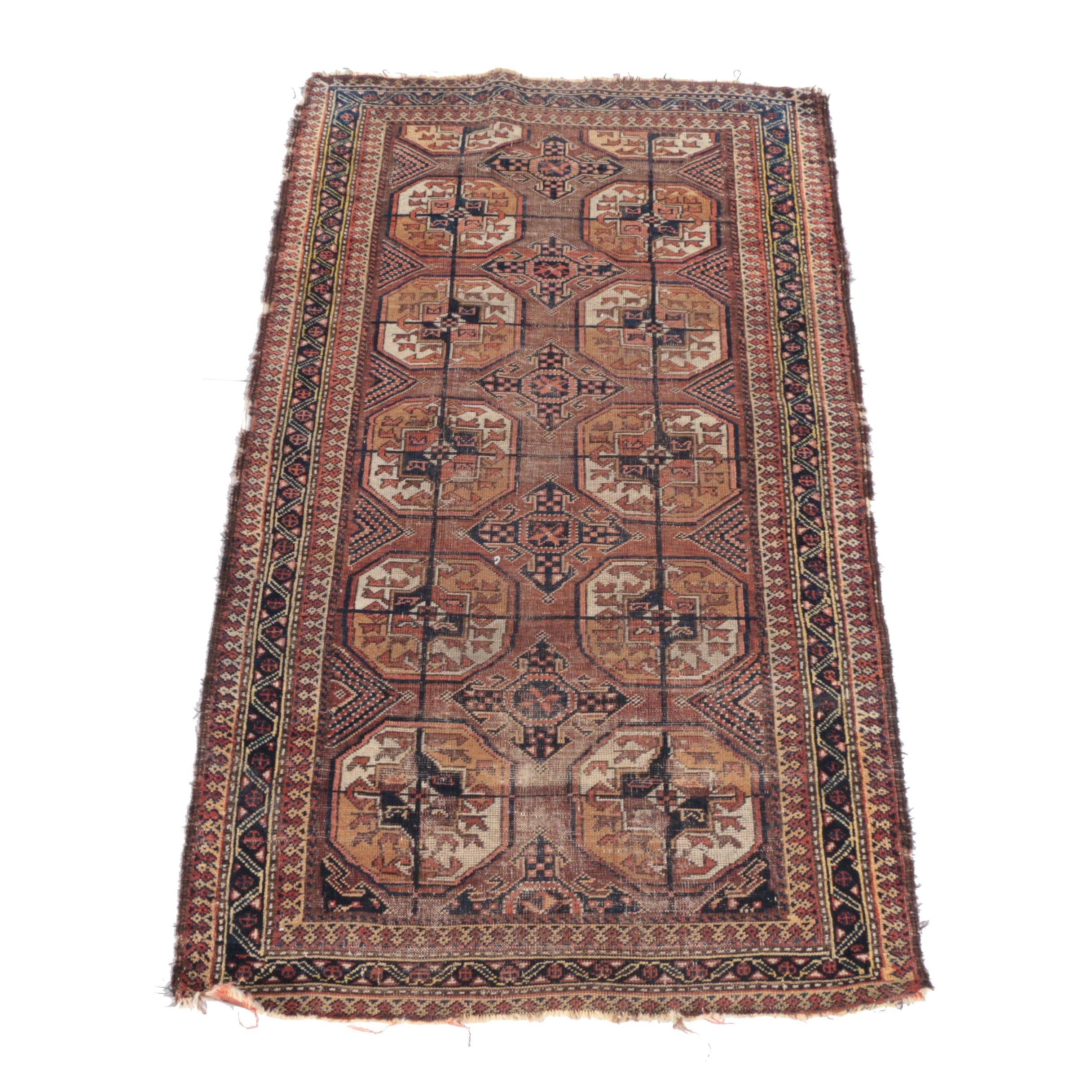 Antique Hand-Knotted Tekke Bokhara Area Rug