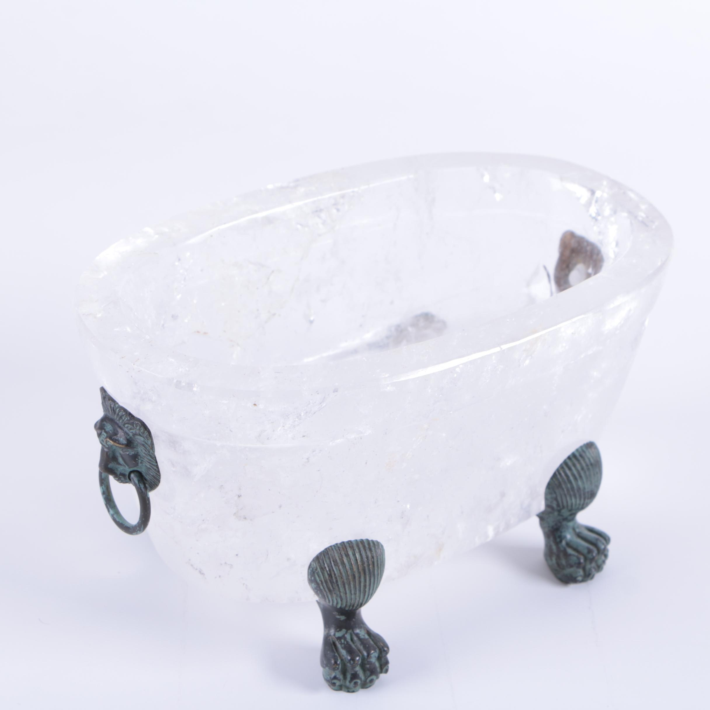 Fine Replica Rock Crystal and Bronze Footed Bowl