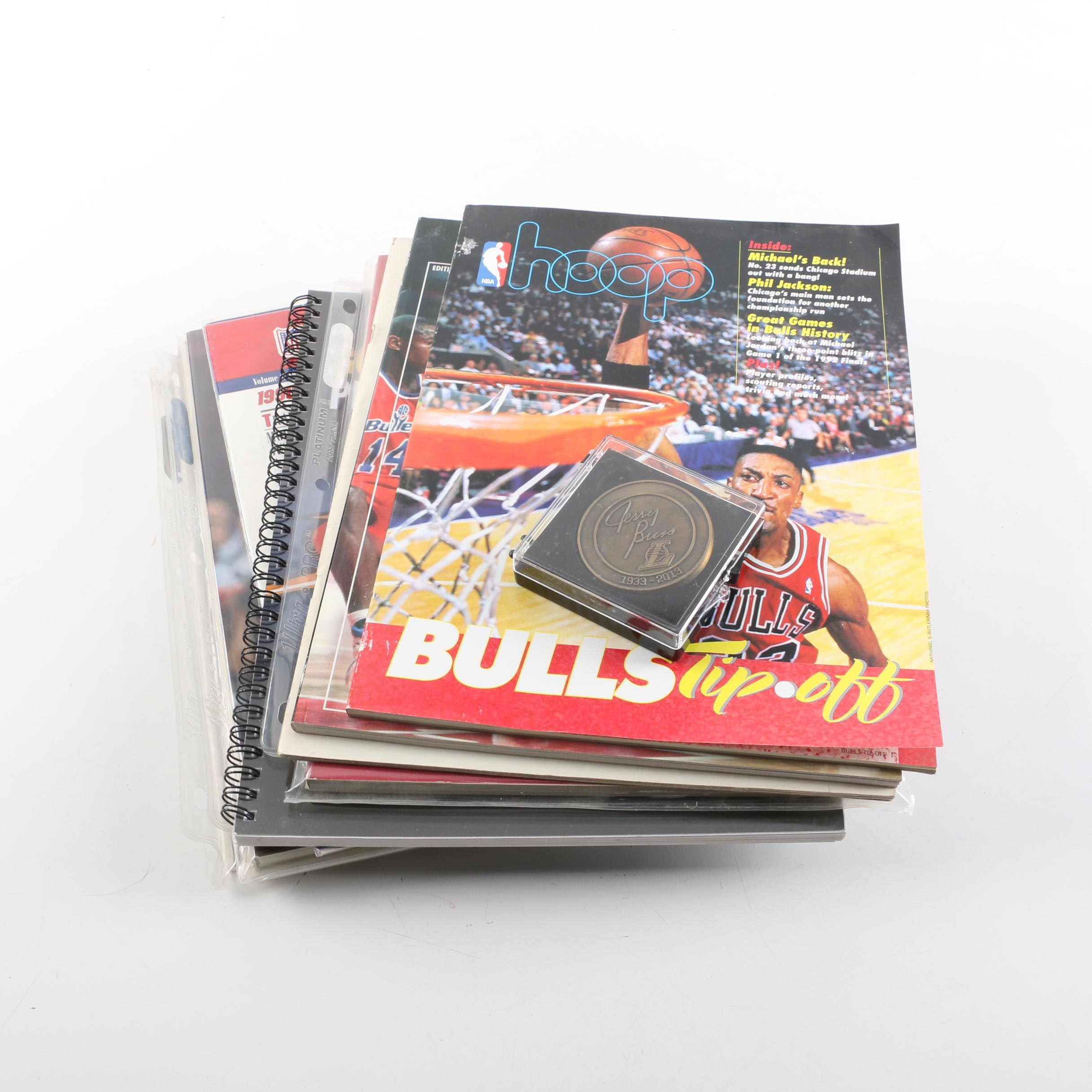 Basketball Association Magazines and Commemorative Jerry Buss Coin