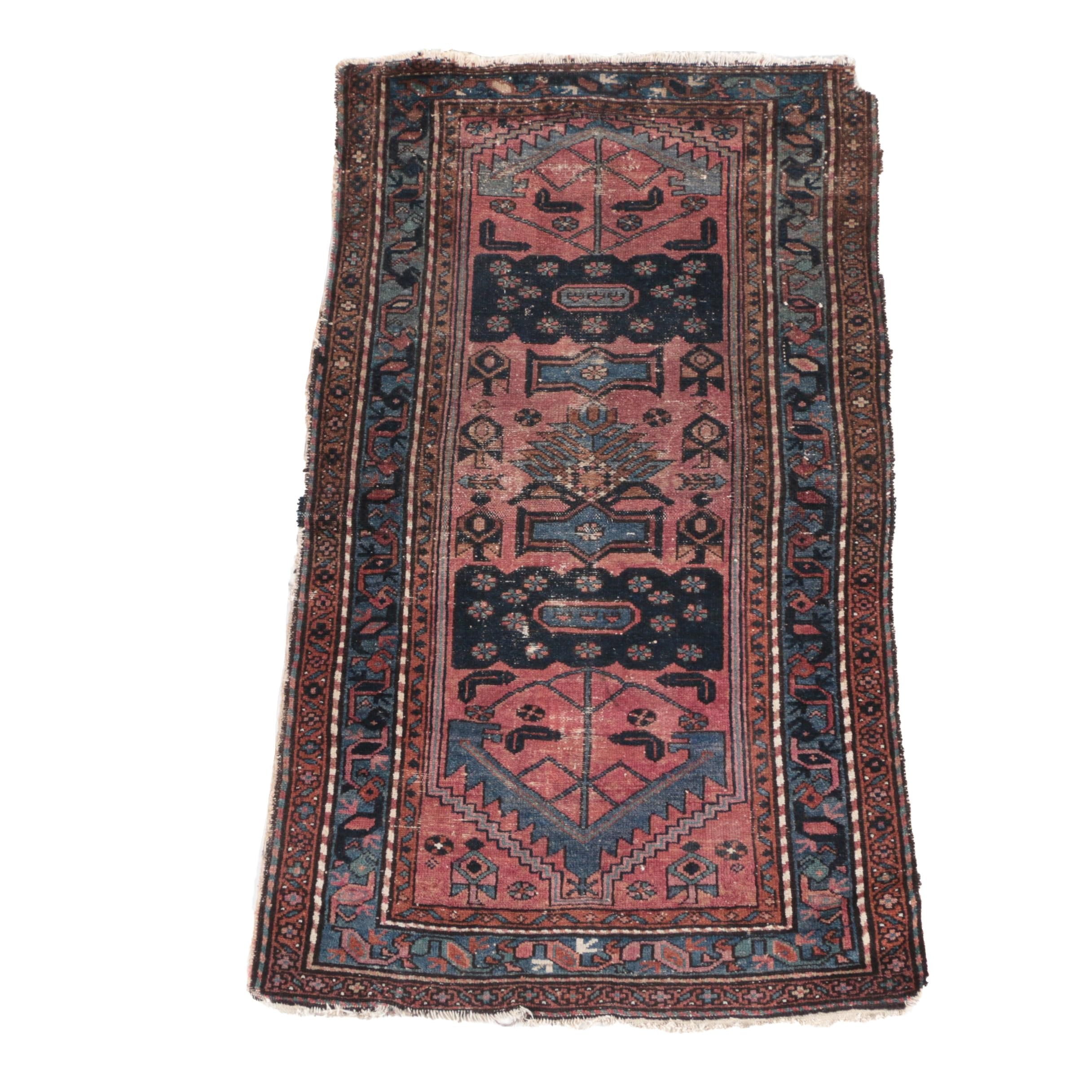 Antique Hand-Knotted Persian Village Area Rug
