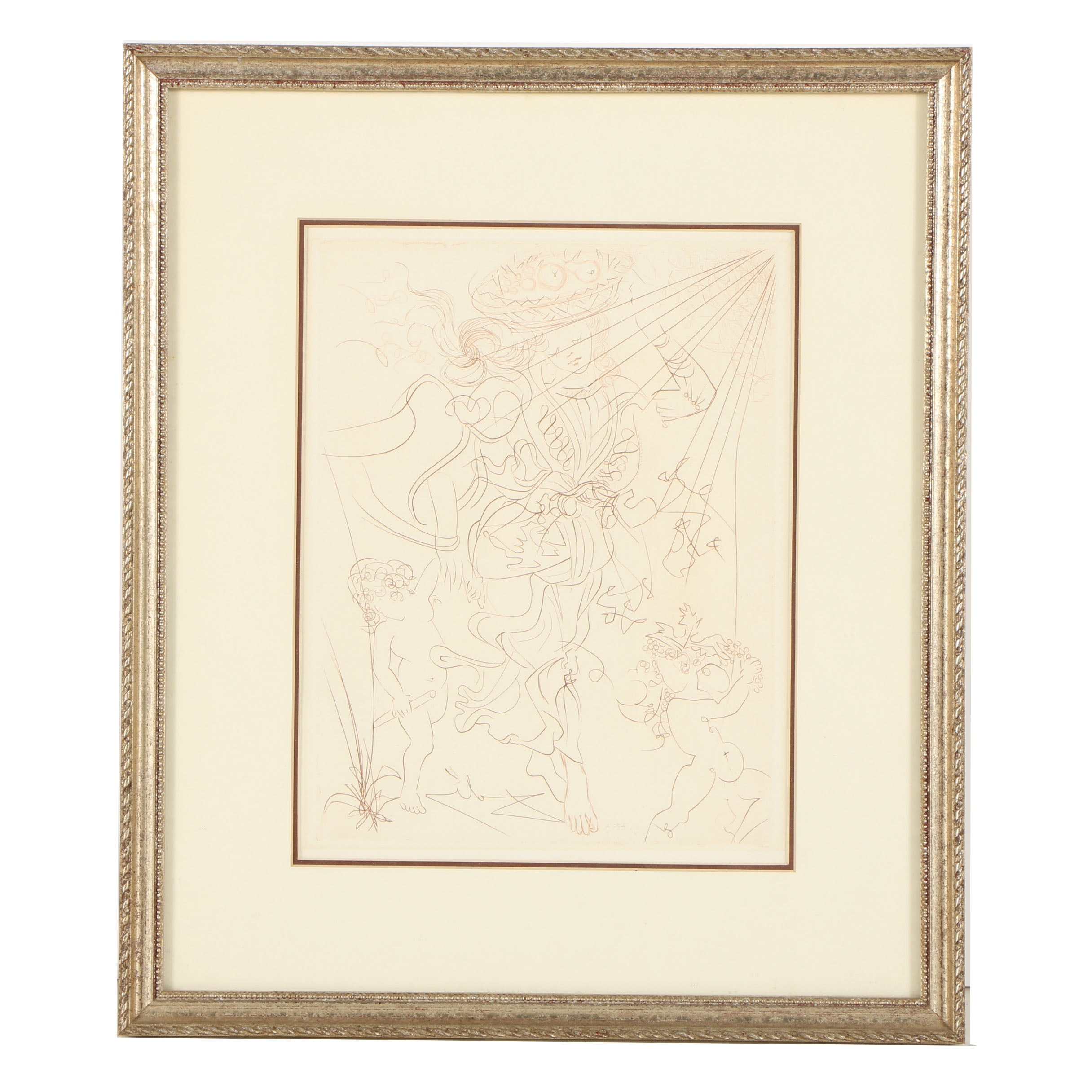 "Salvador Dalí Second Edition Drypoint Engraving on Paper ""Autumn"""