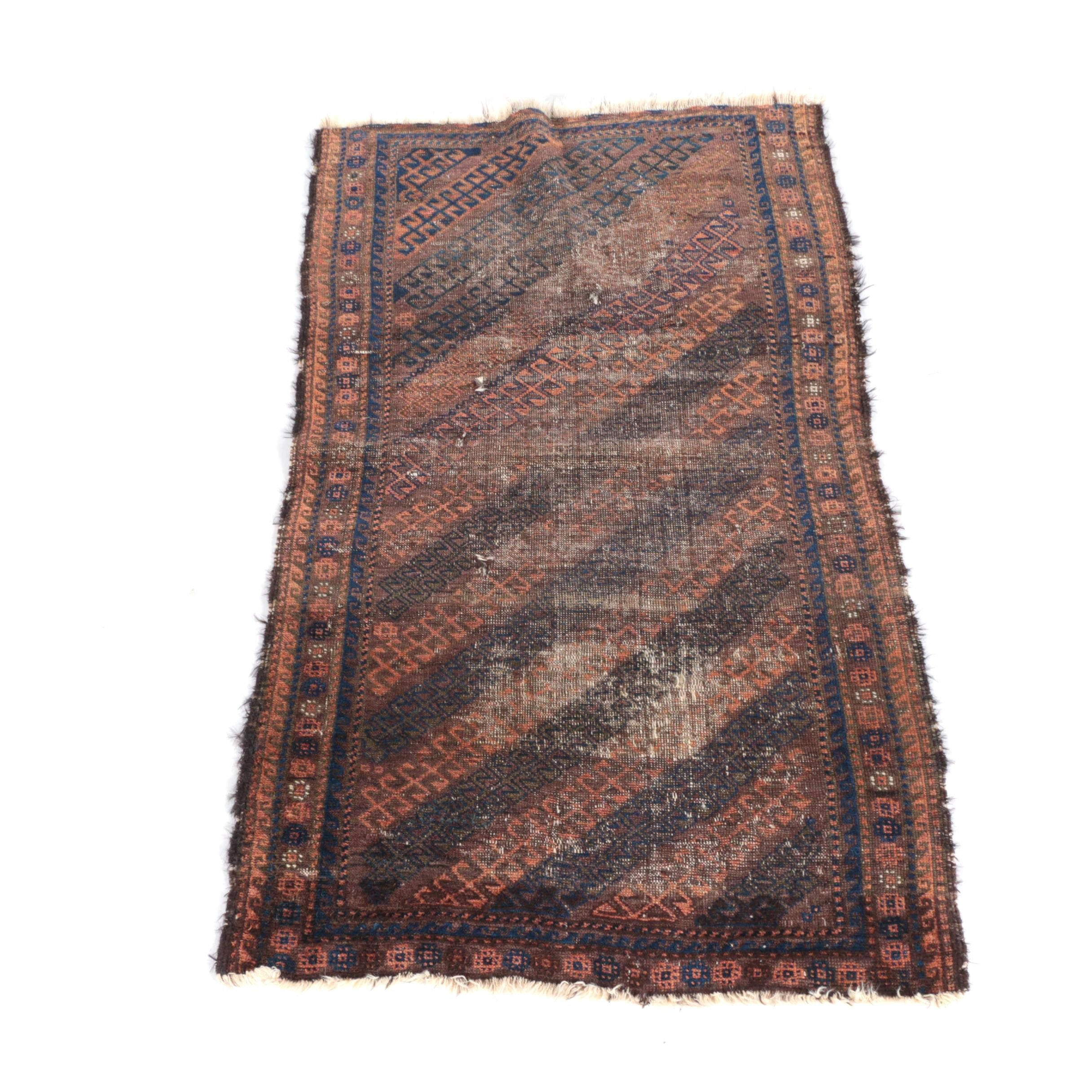 Antique Hand-Knotted Baluch Wool Area Rug