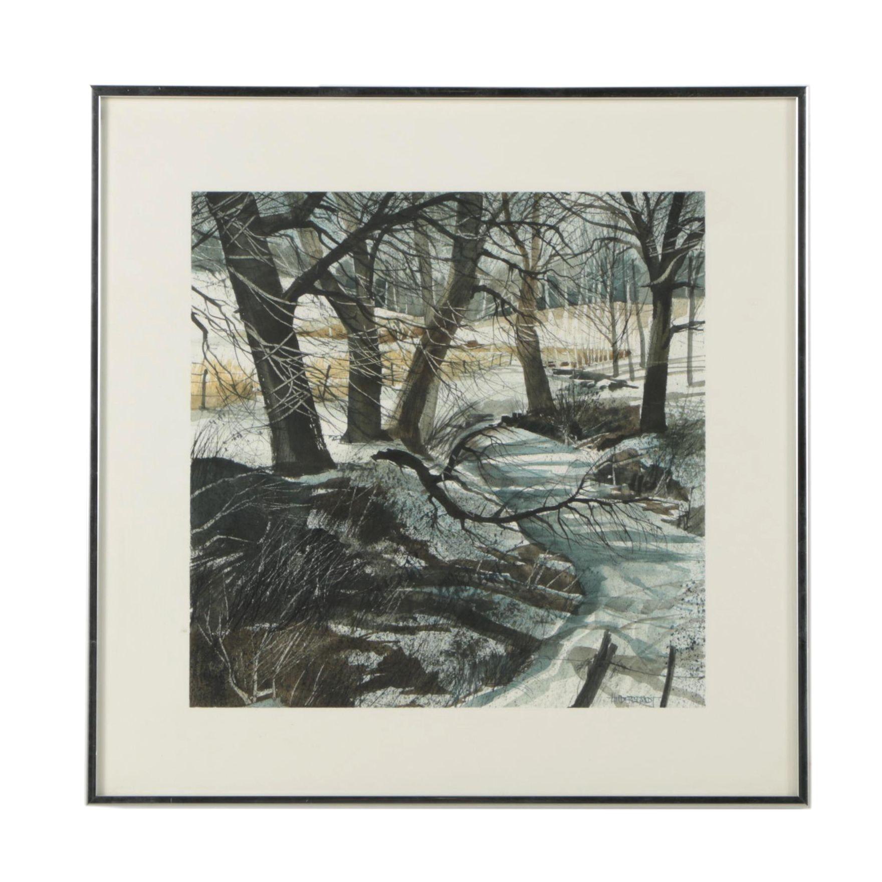 """1970 Hilderbrandt Watercolor Painting """"Icy Stream"""""""