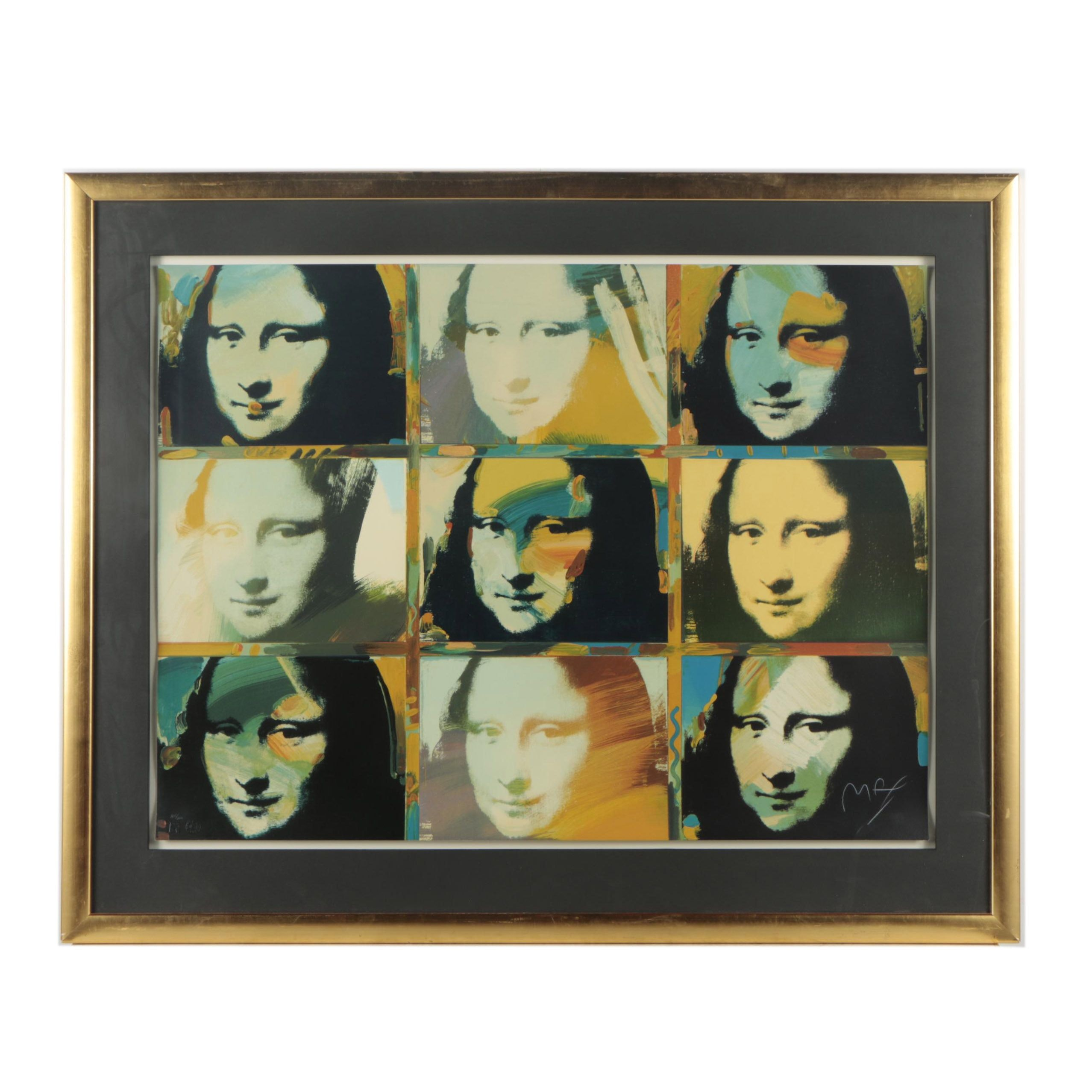 "Peter Max Serigraph ""9 Mona Lisa Portraits"""