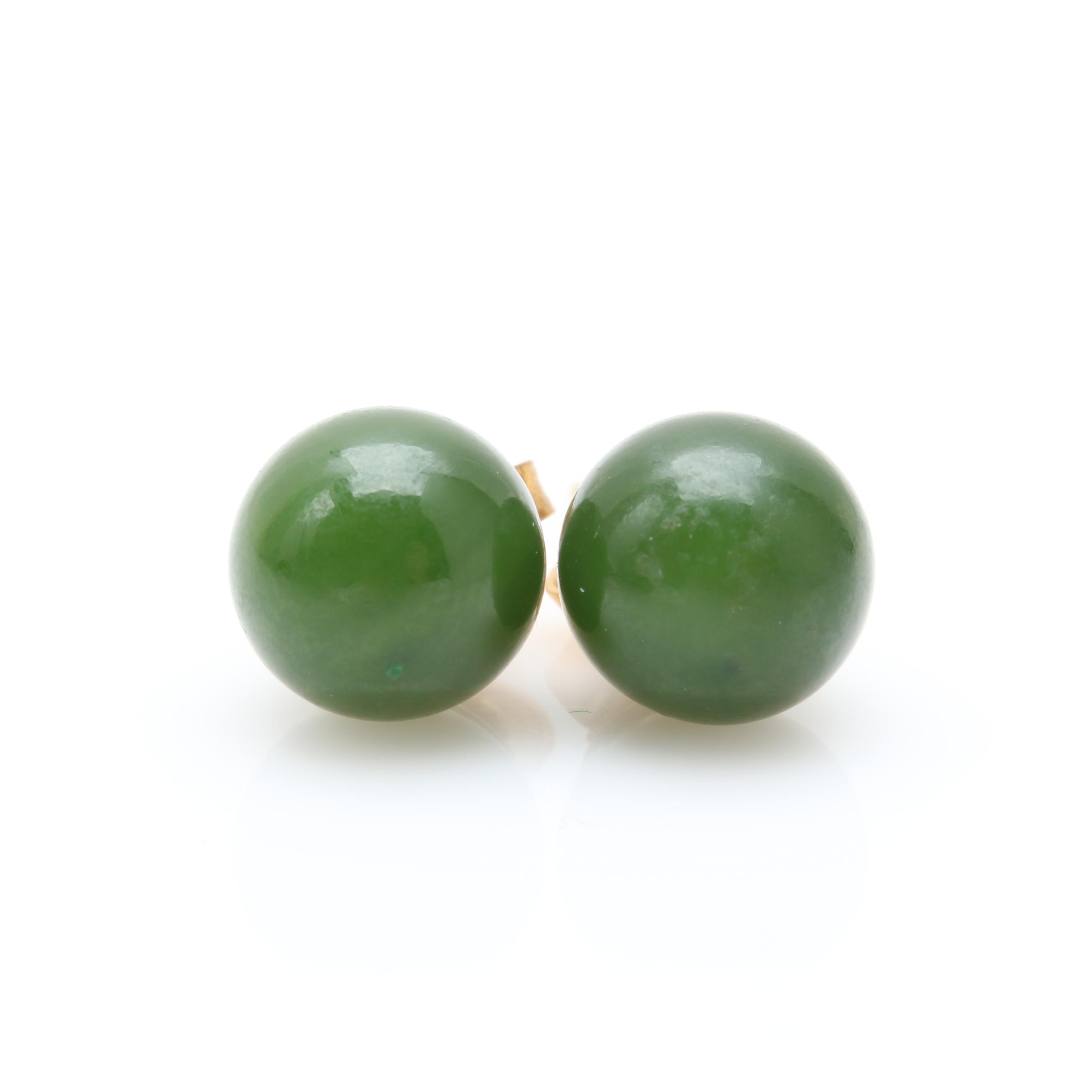 14K Yellow Gold Nephrite Earrings