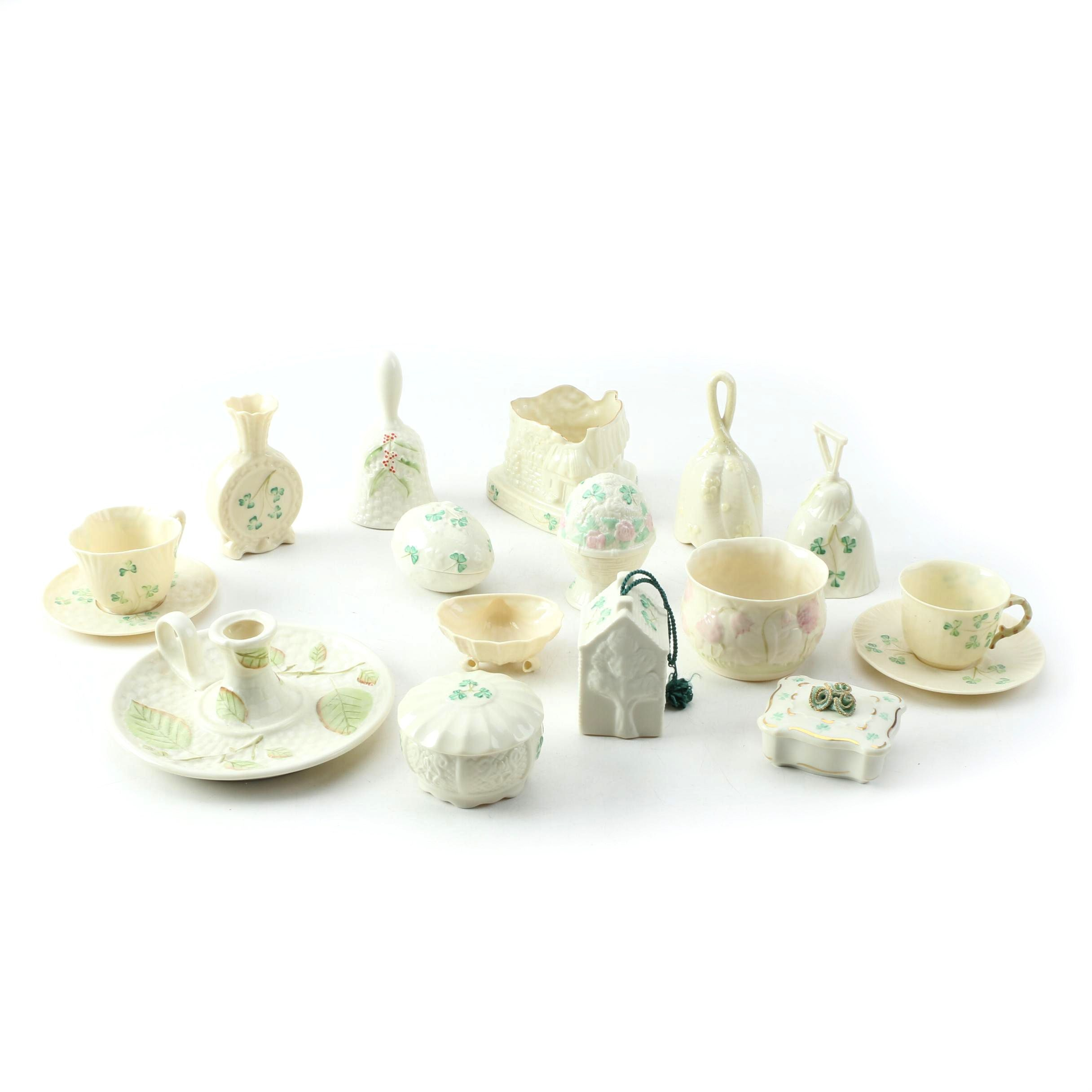 "Belleek Porcelain Including ""Shamrock"" and ""Apple Leaf"""