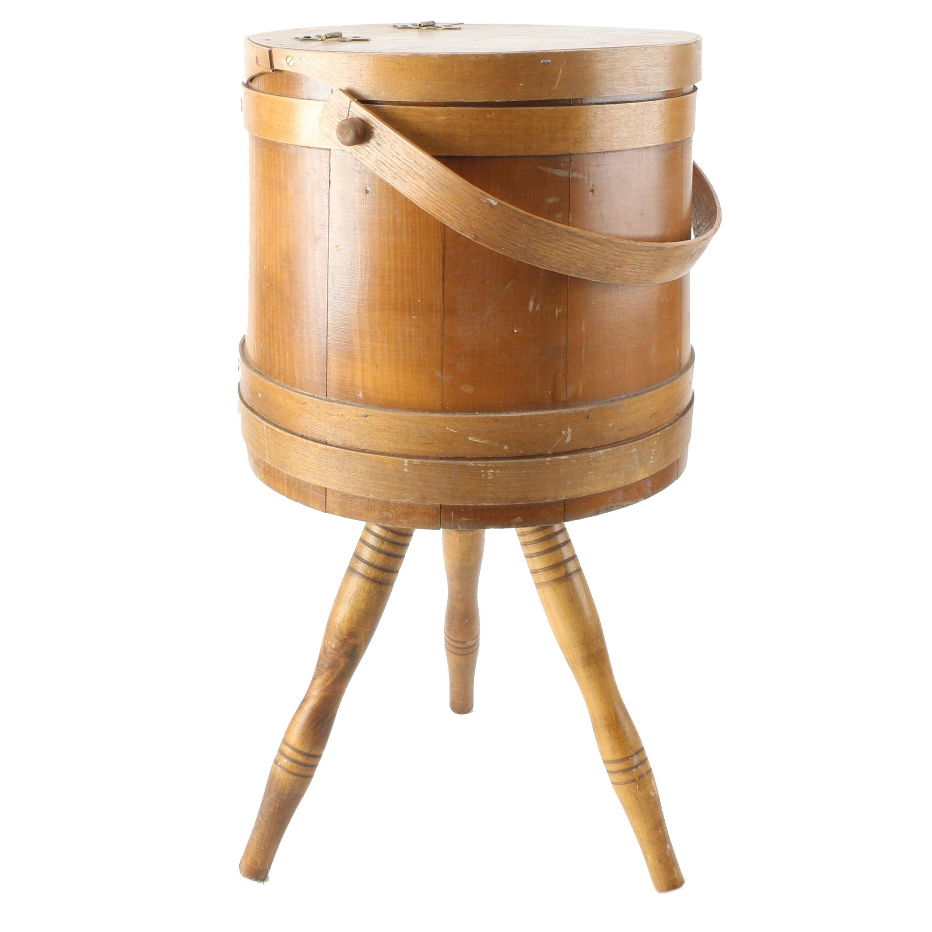 Maple Firkin Bucket Sewing Stand