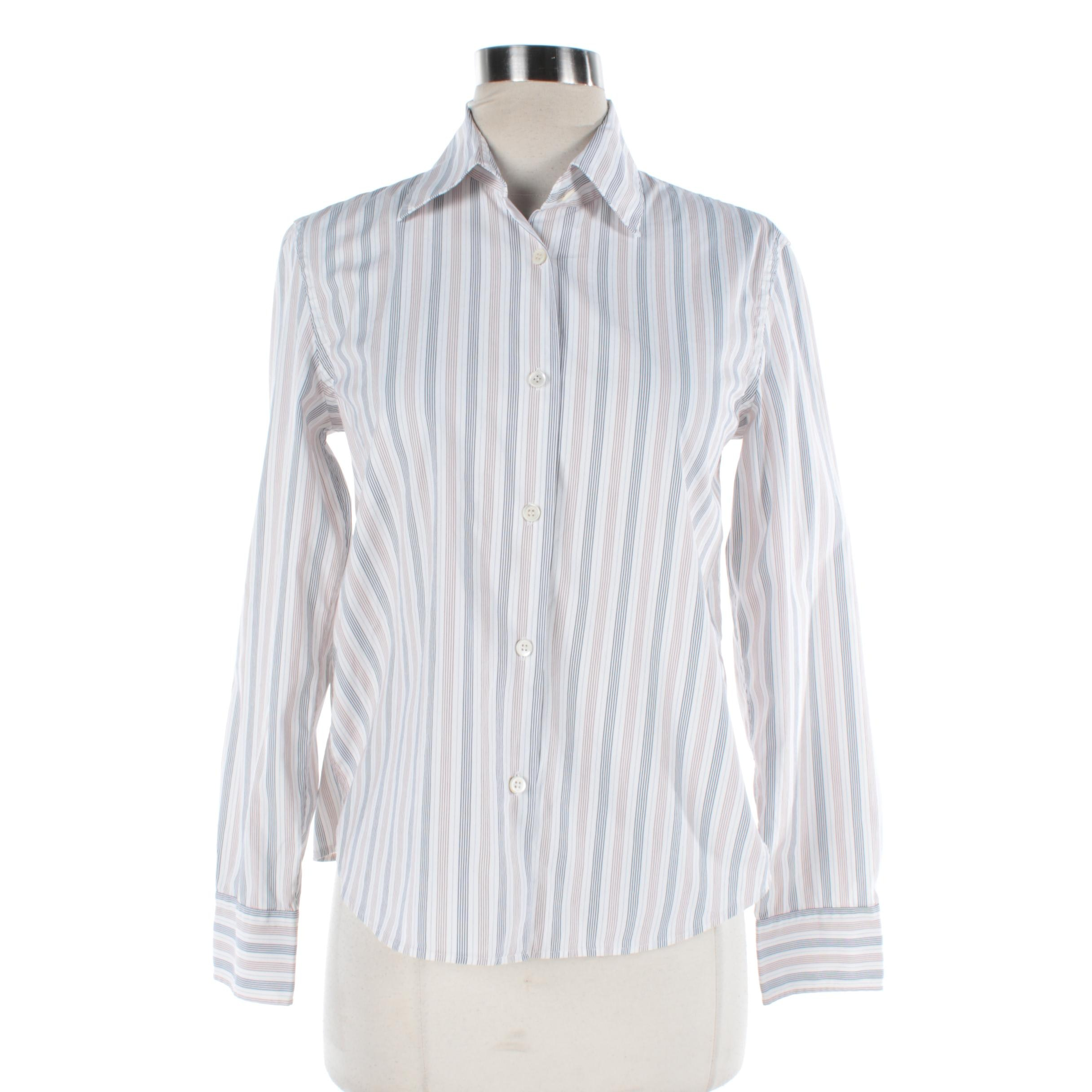 Women's Prada White, Beige and Navy Striped Button-Front Shirt