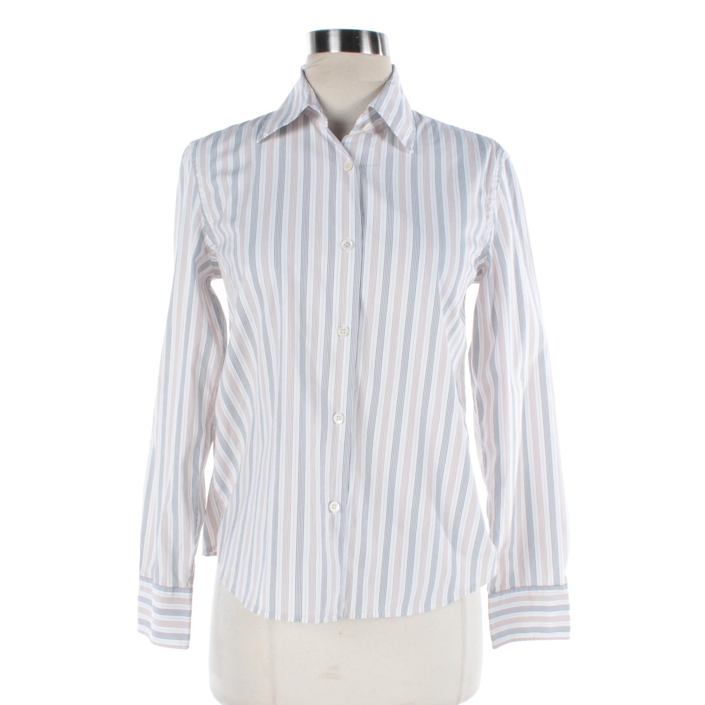 Women's Prada White, Beige and Navy Striped Button-Front Shirt