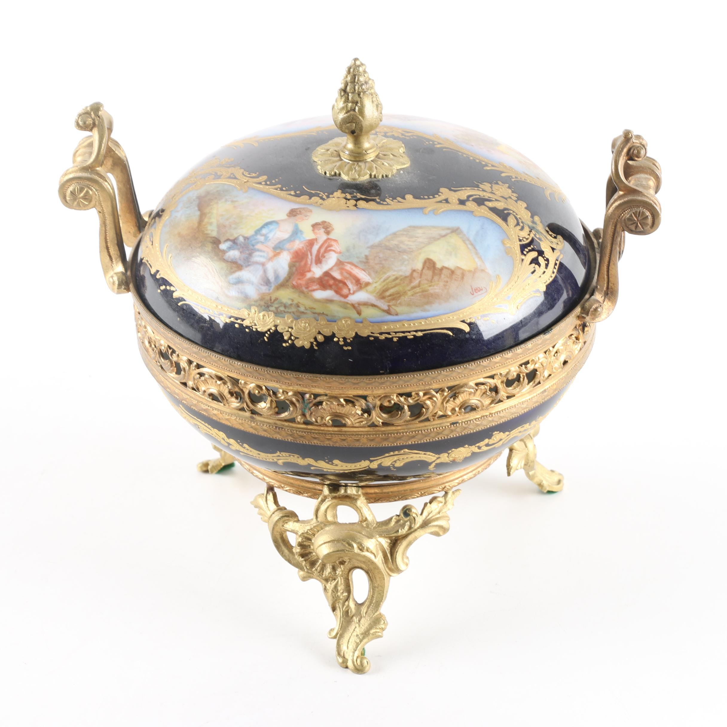 French Sevres Style Porcelain Lidded Potpourri