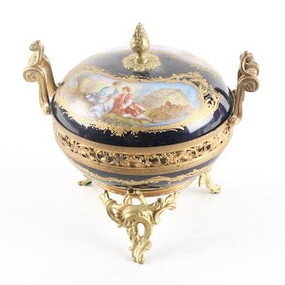 French Sevres Style Porcelain Lidded Potpourri