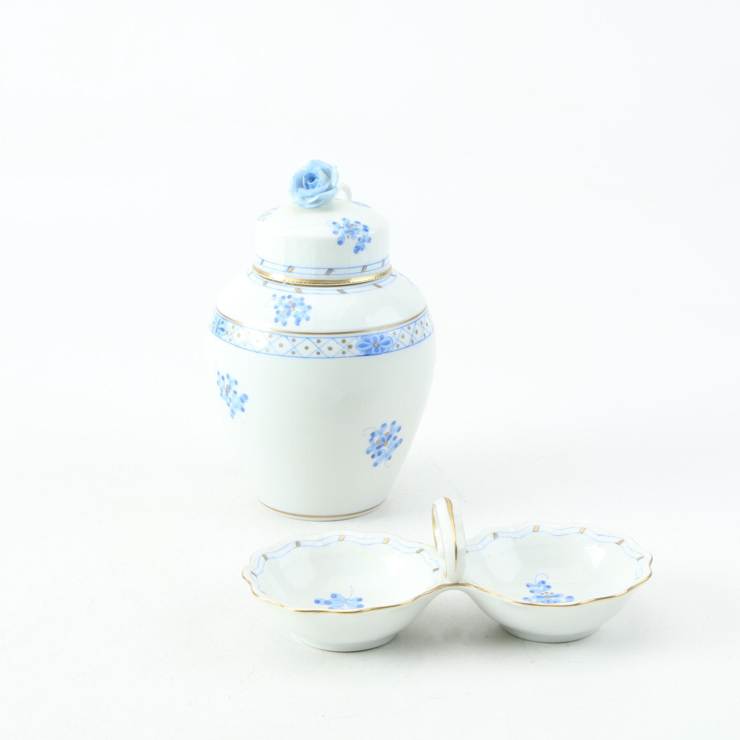 "Herend Porcelain ""Blue Garden"" Lidded Jar and Divided Candy Dish"