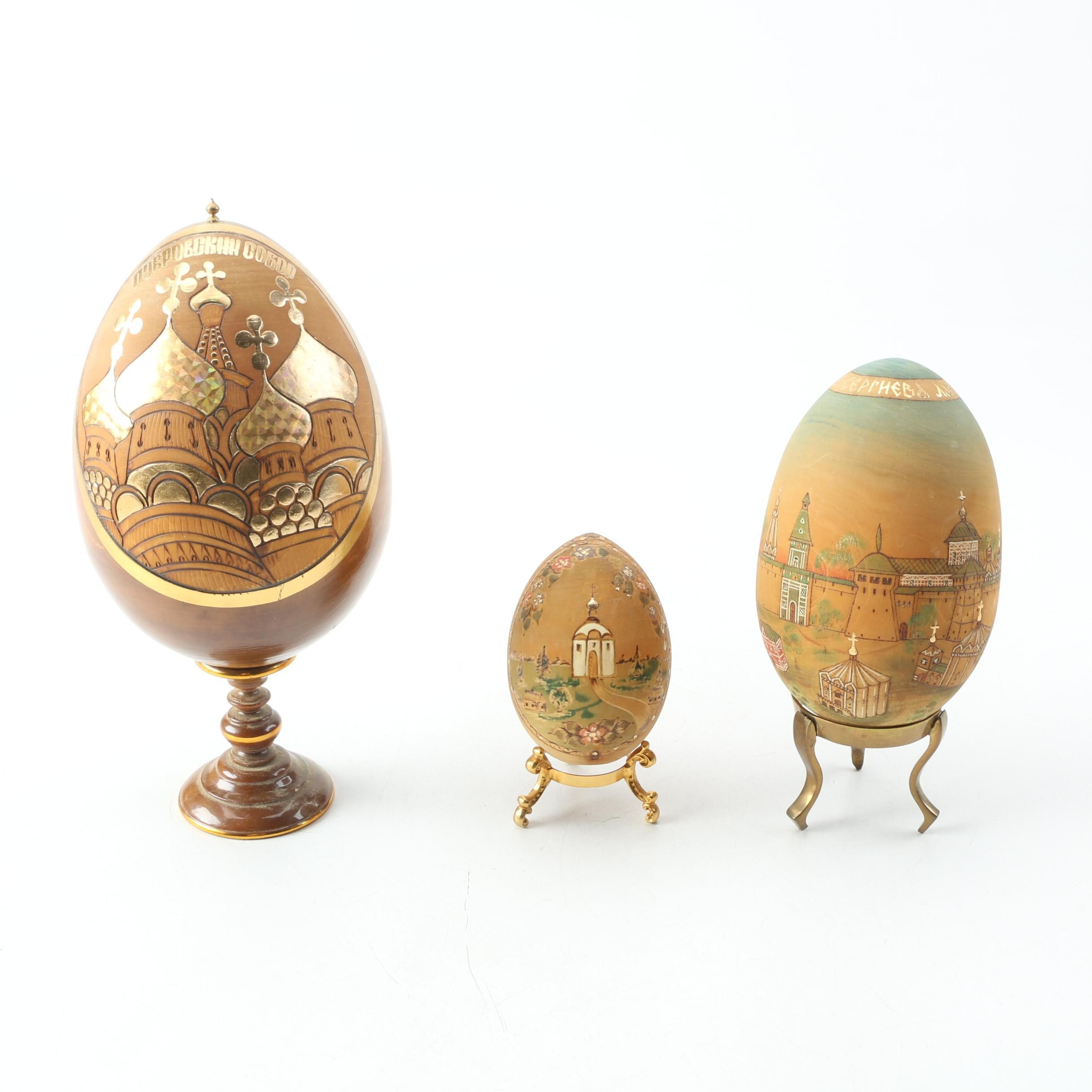Russian Hand Made Wooden Eggs and Stands