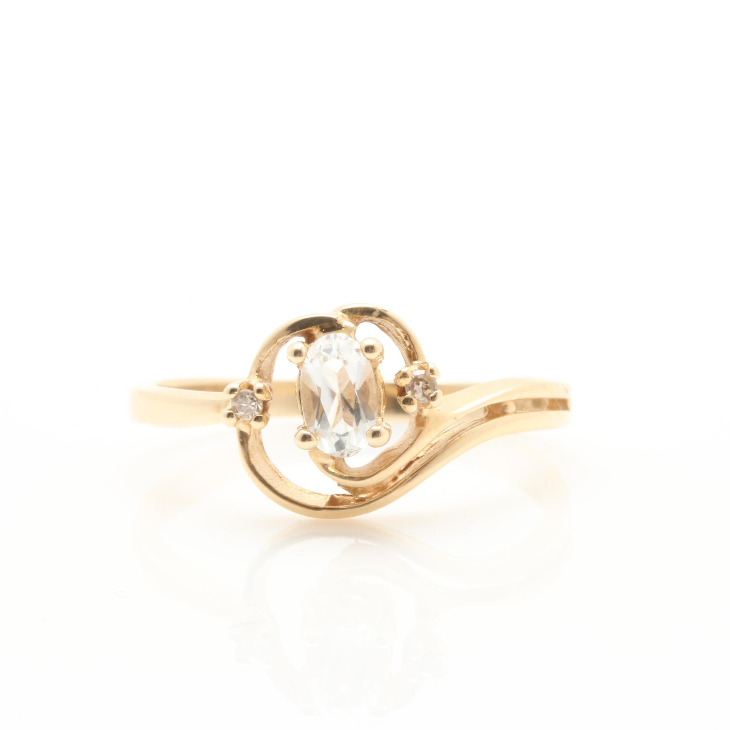 14K Yellow Gold Synthetic White Sapphire and Diamond Ring